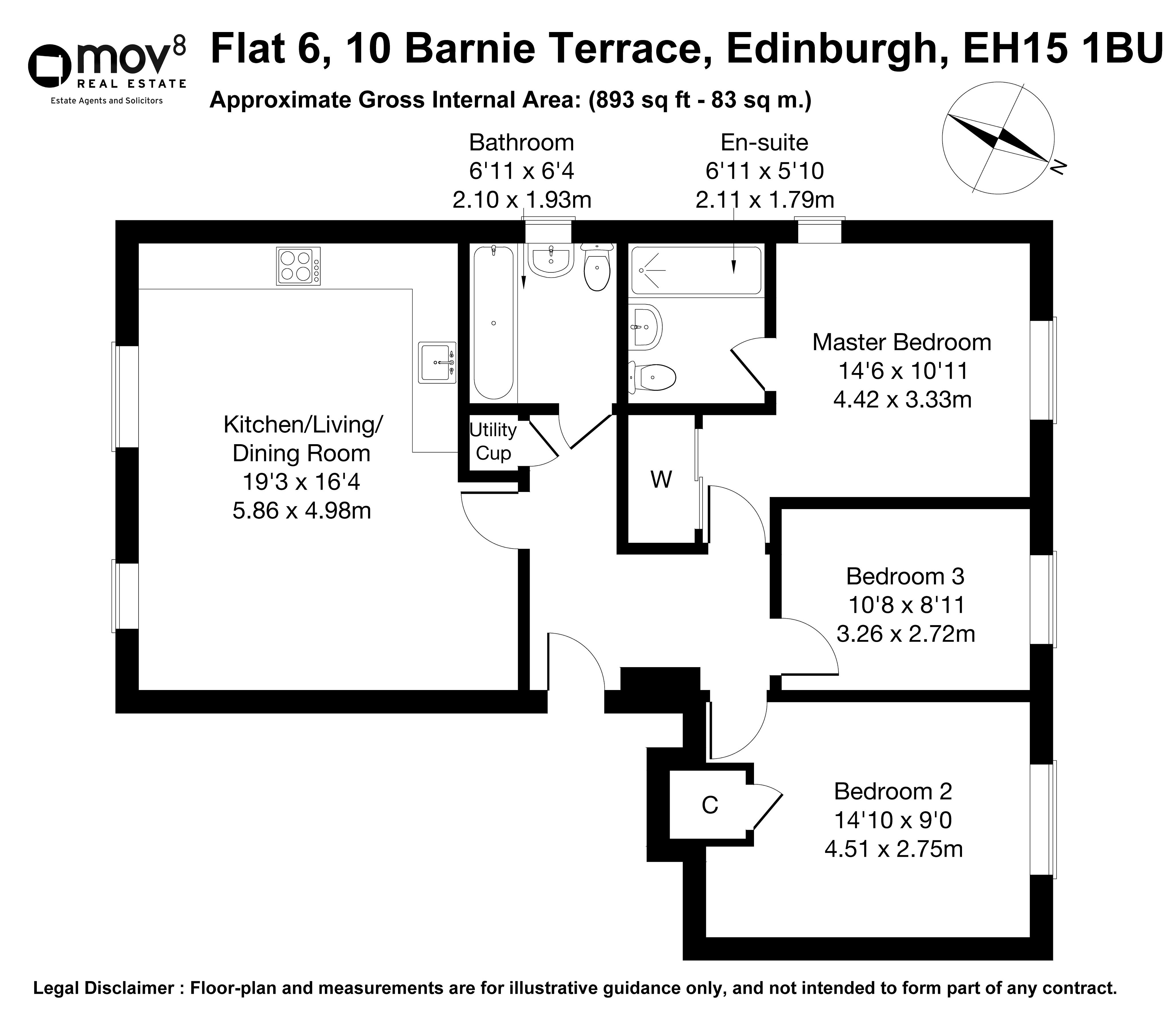 Floorplan 1 of Flat 6, 10 Barnie Terrace, Portobello, Edinburgh, Midlothian, EH15 1BU