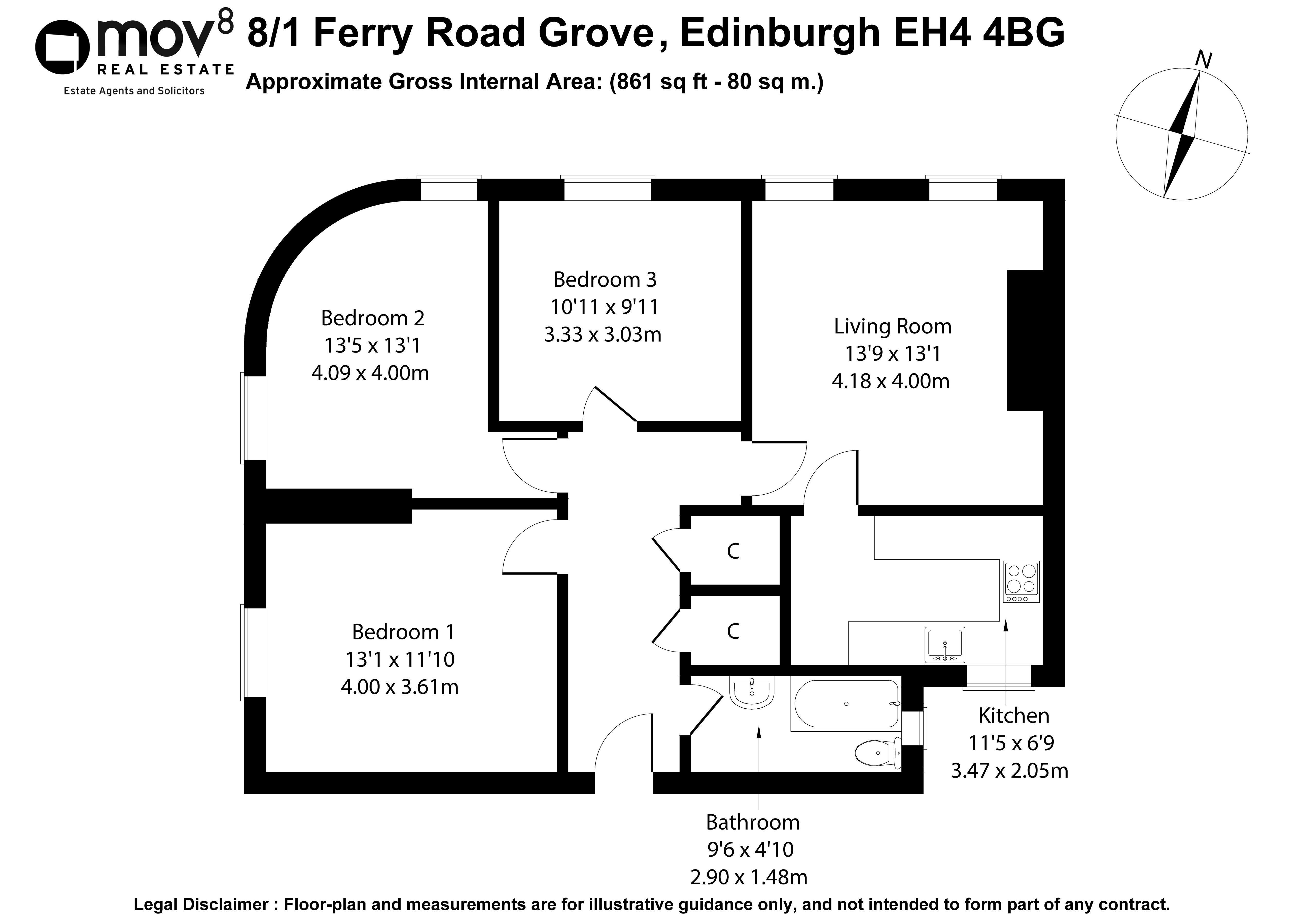 Floorplan 1 of 8/1, Ferry Road Grove, Crewe, Edinburgh, EH4 4BG