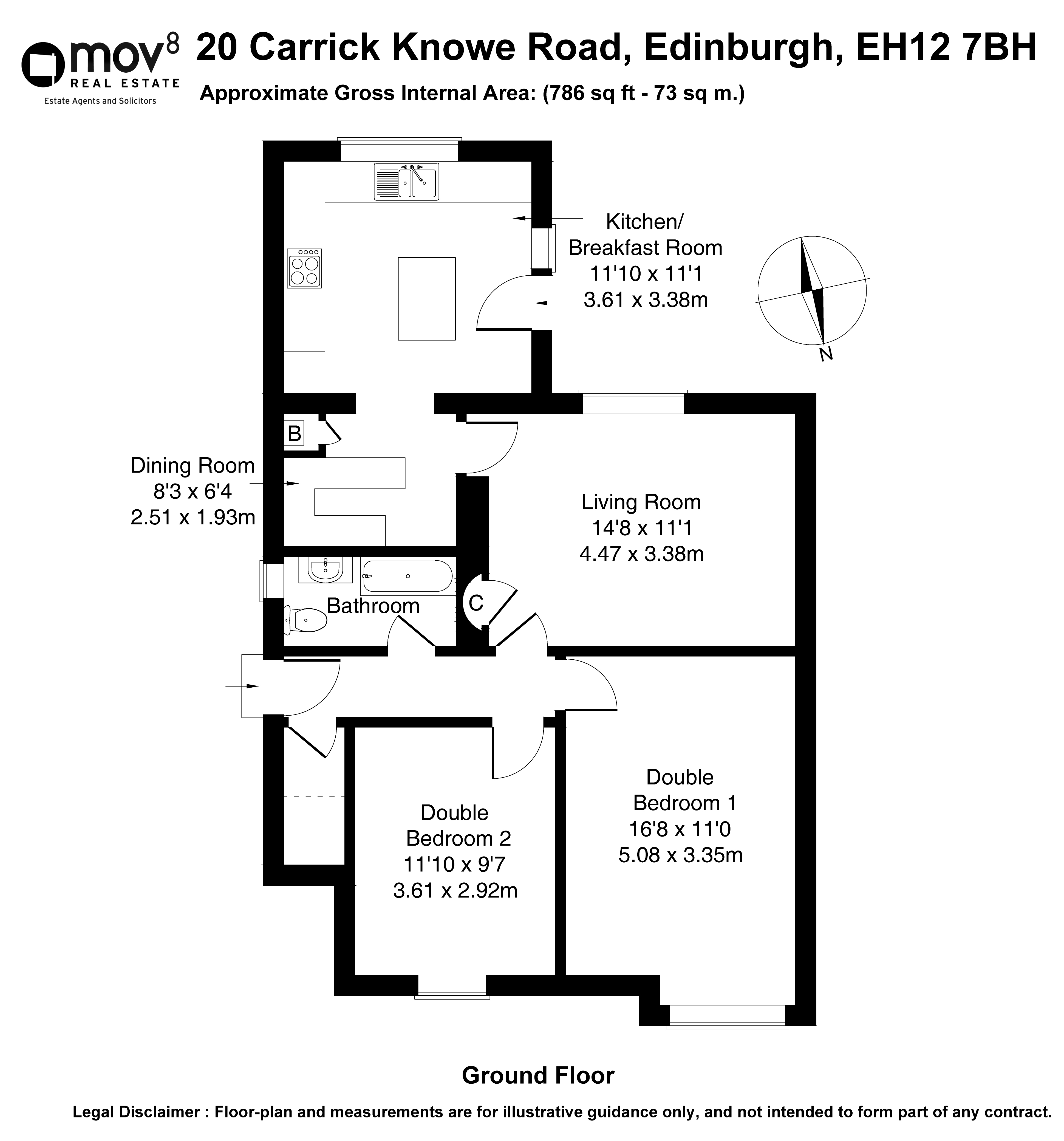 Floorplan 1 of 20 Carrick Knowe Road, Carrick Knowe, Edinburgh, EH12 7BH