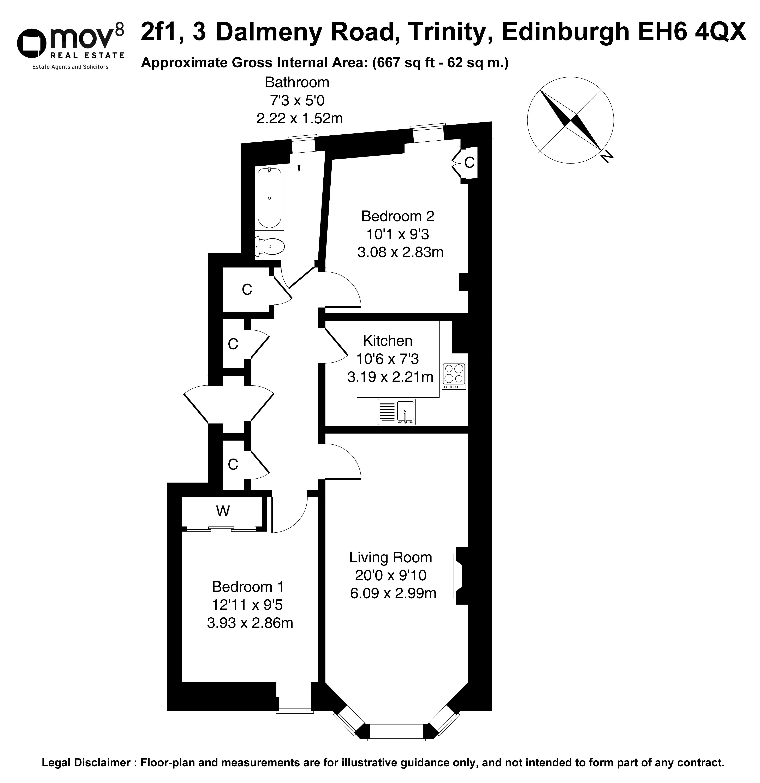 Floorplan 1 of 2f1, 3 Dalmeny Road, Trinity, Edinburgh, EH6 4QX