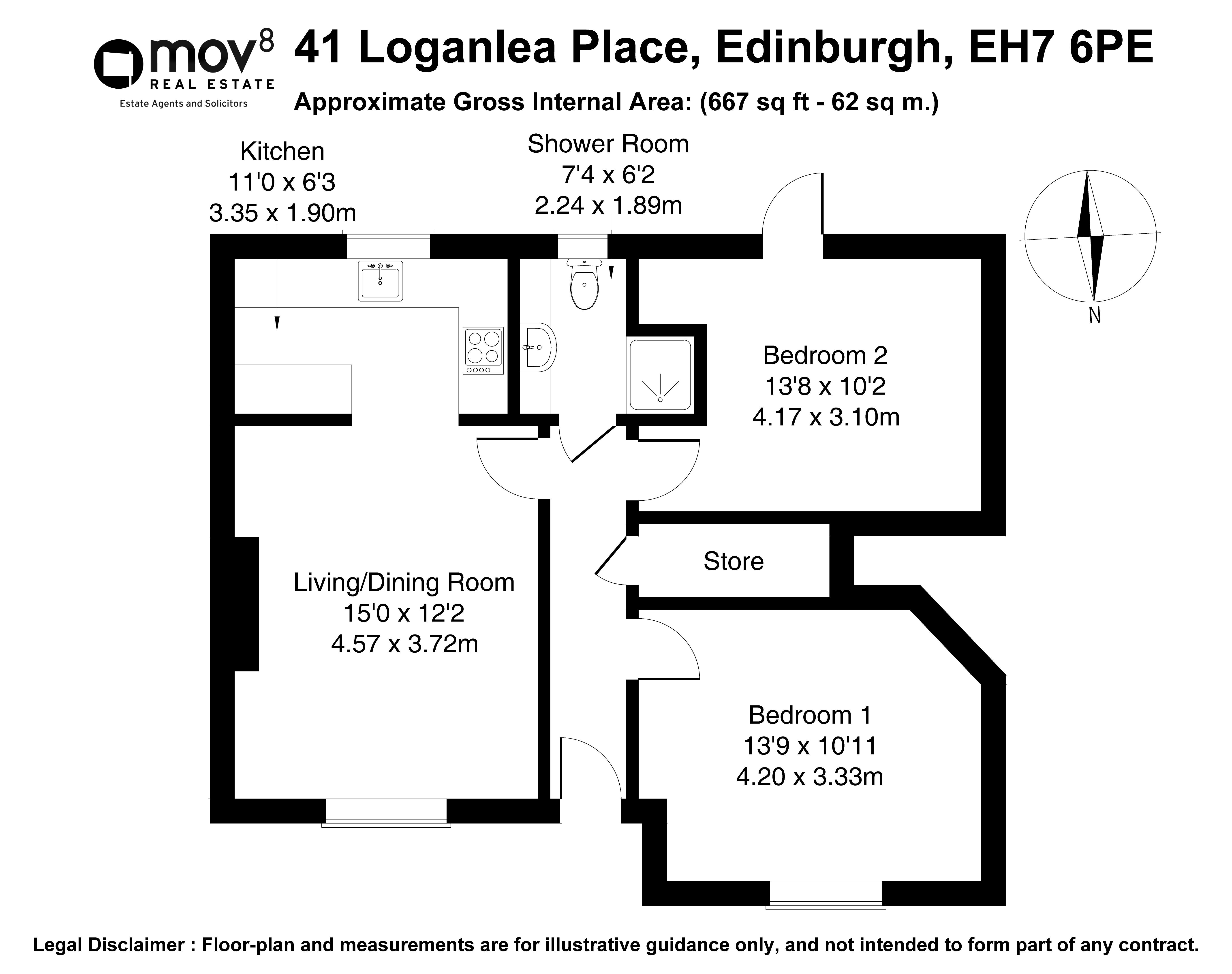 Floorplan 1 of 41 Loganlea Place, Edinburgh, EH7 6PE