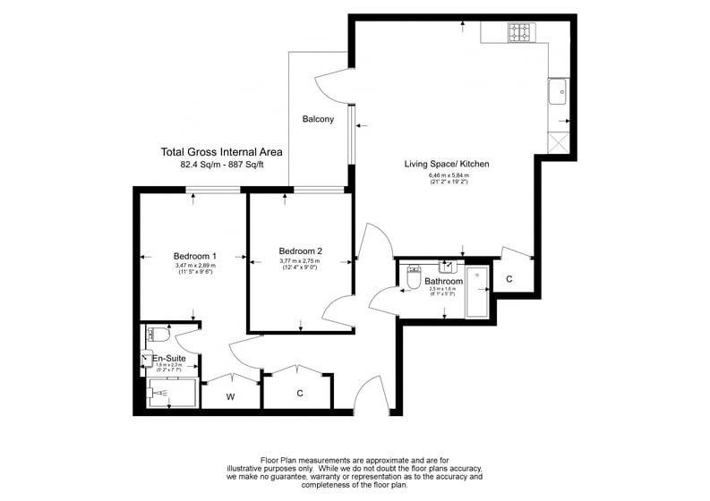 2 bedroom(s) apartment to sale in Fairbank House, Beaufort Park , Colindale-Floorplan