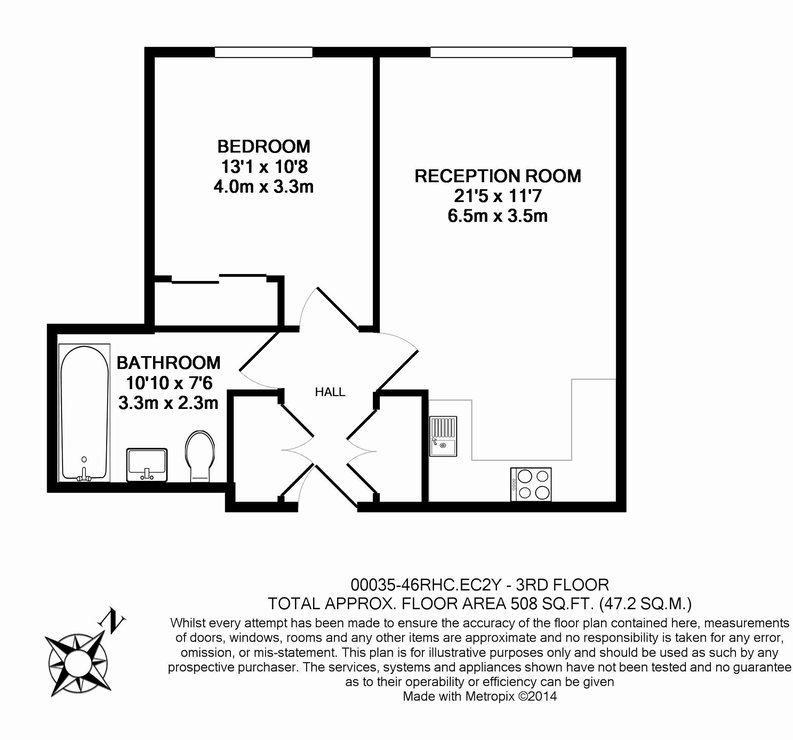 1 bedroom(s) apartment to sale in Roman House, Wood Street, Barbican-Floorplan