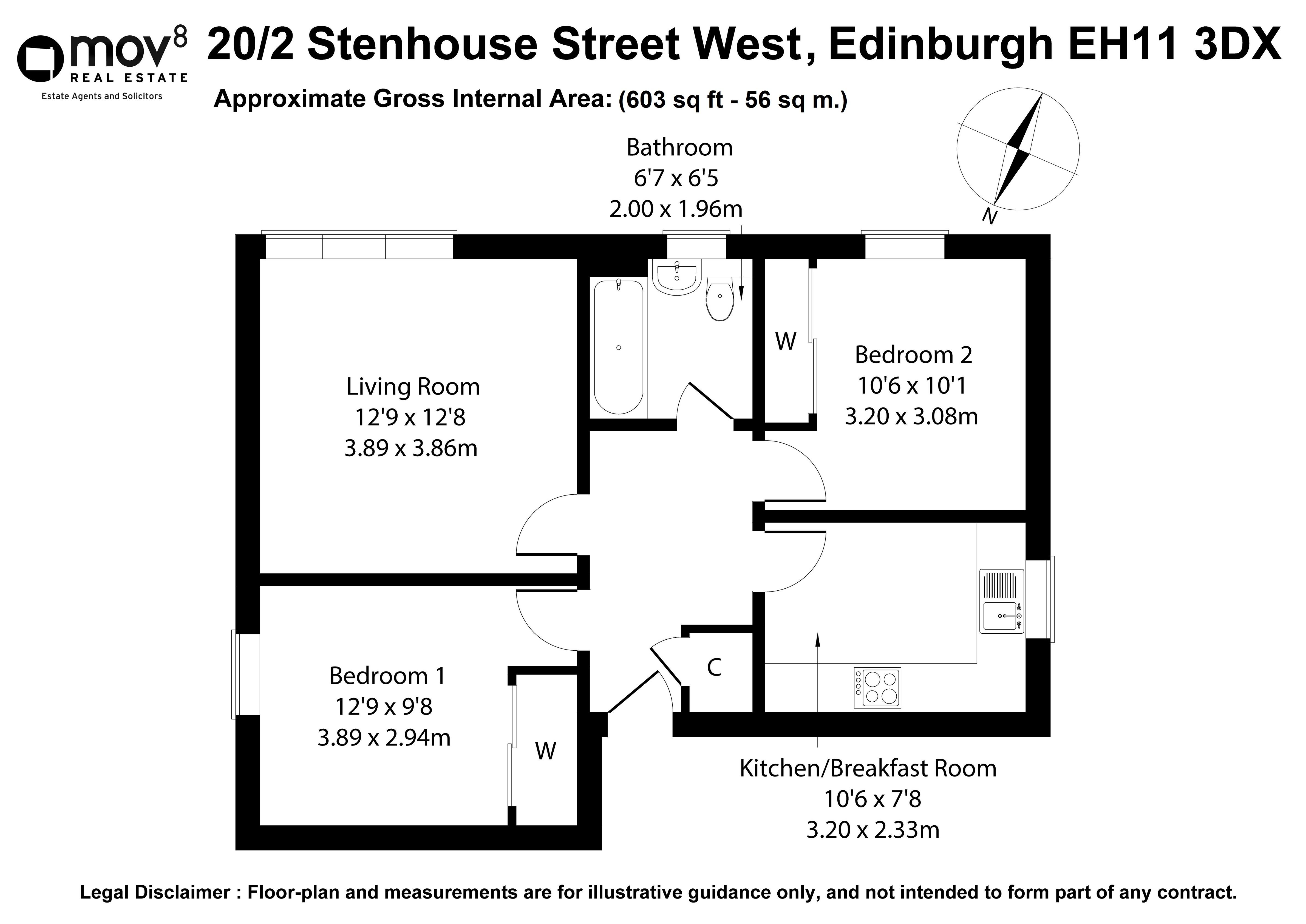Floorplan 1 of 20/2, Stenhouse Street West, Stenhouse, Edinburgh, EH11 3DX