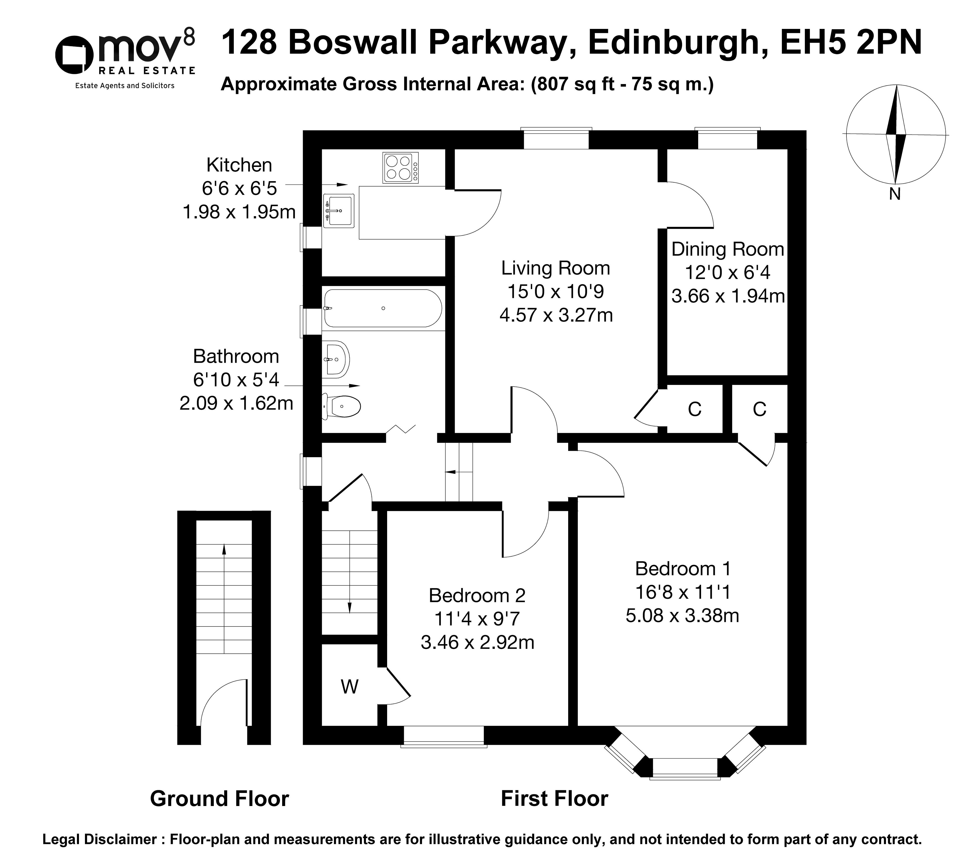 Floorplan 1 of 128 Boswall Parkway, Crewe, Edinburgh, EH5 2PN