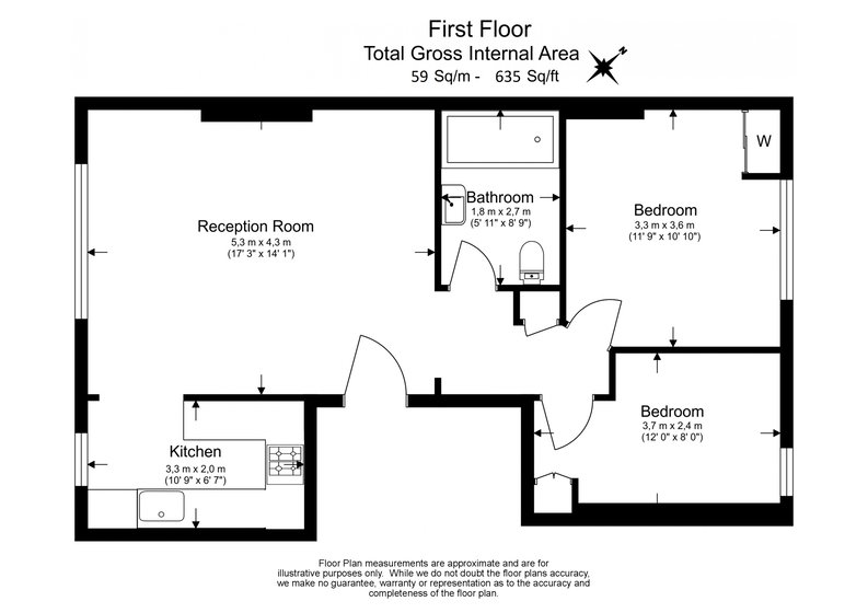 2 bedroom(s) apartment to sale in Elsham Road, West Kensington-Floorplan