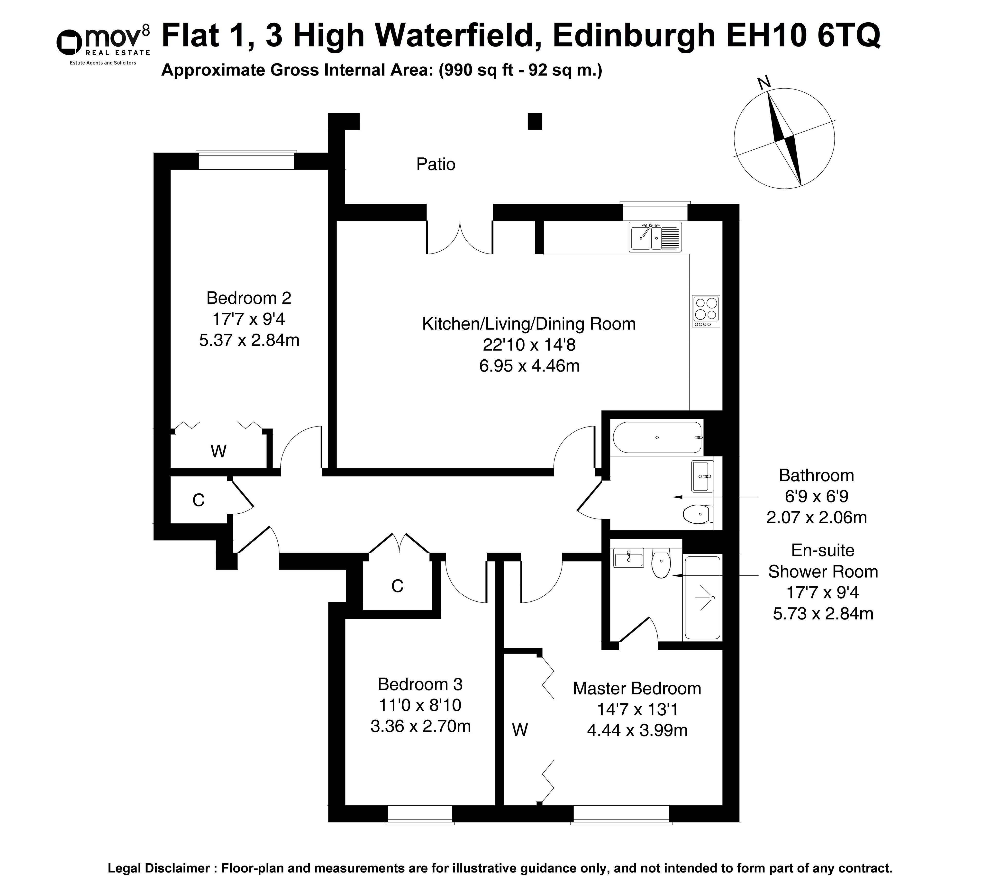 Floorplan 1 of Flat 1, 3 High Waterfield, Fairmilehead, Edinburgh, EH10 6TQ