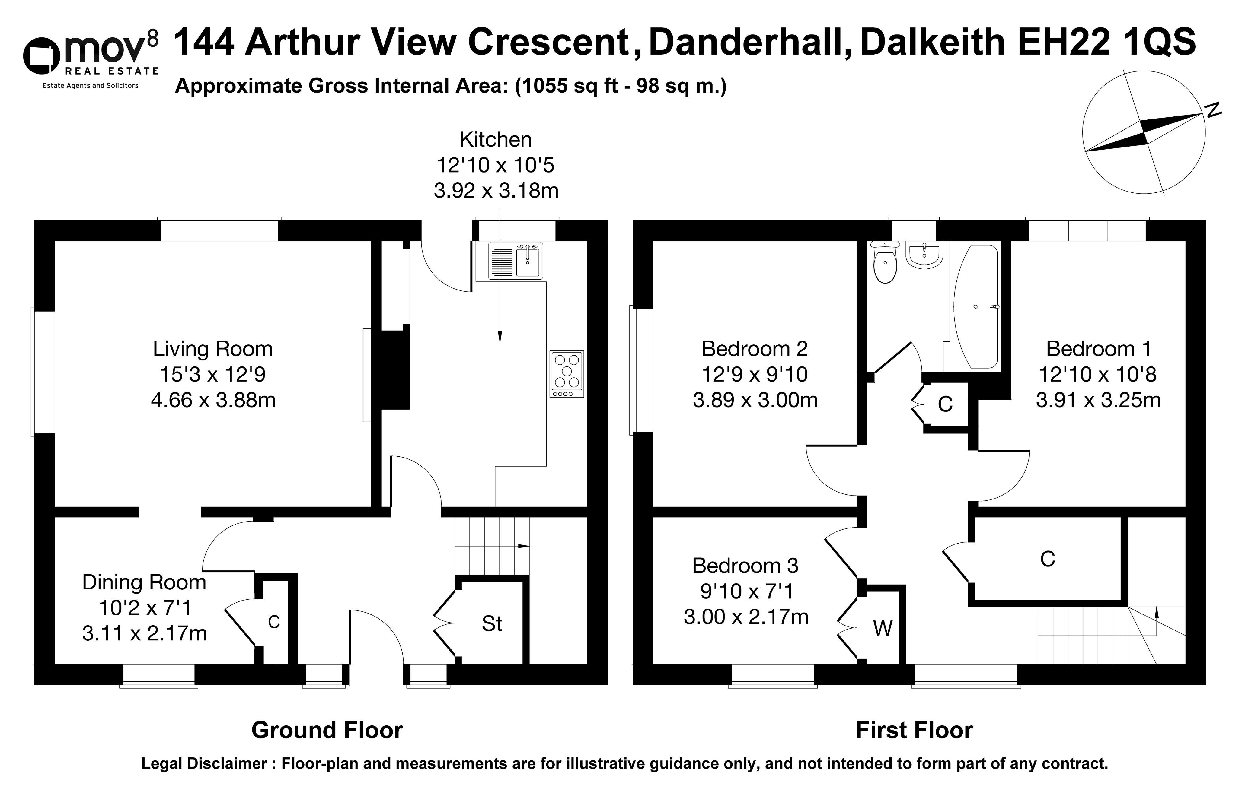 Floorplan 1 of 144 Arthur View Crescent, Danderhall, Dalkeith, Midlothian, EH22 1QS