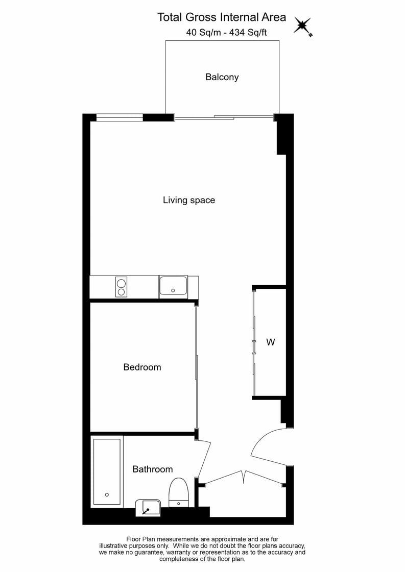 Studio apartment to sale in Plough Yard, Shoreditch-Floorplan