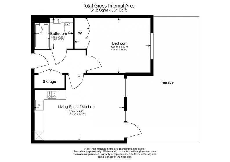 1 bedroom(s) apartment to sale in Fairbank House , Beaufort Park , Colindale, London-Floorplan