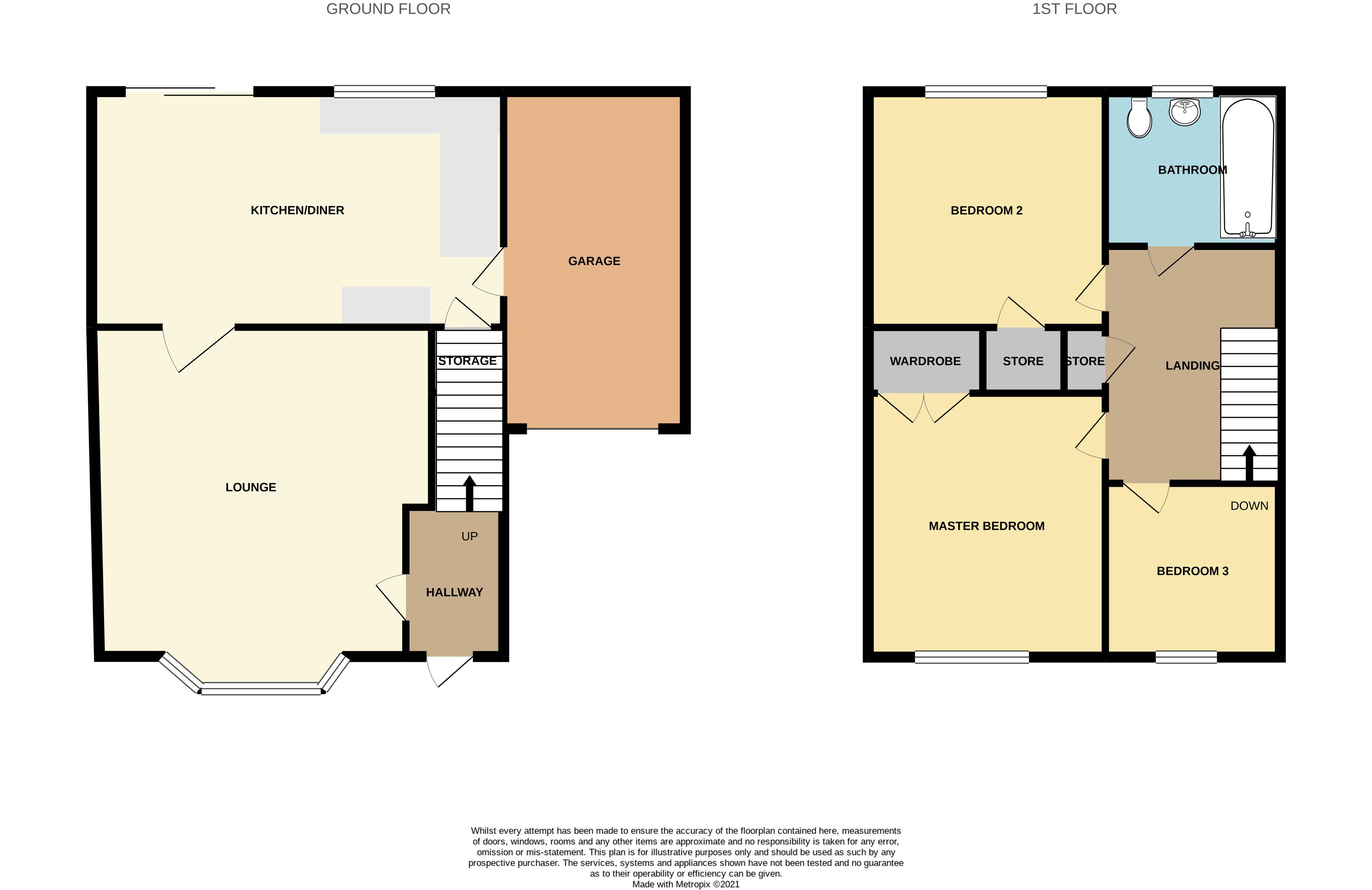 Floorplan for Ormonds Close, Bradley Stoke.