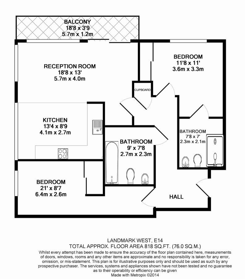2 bedroom(s) apartment to sale in Landmark West Tower, Marsh Wall, Canary Wharf-Floorplan