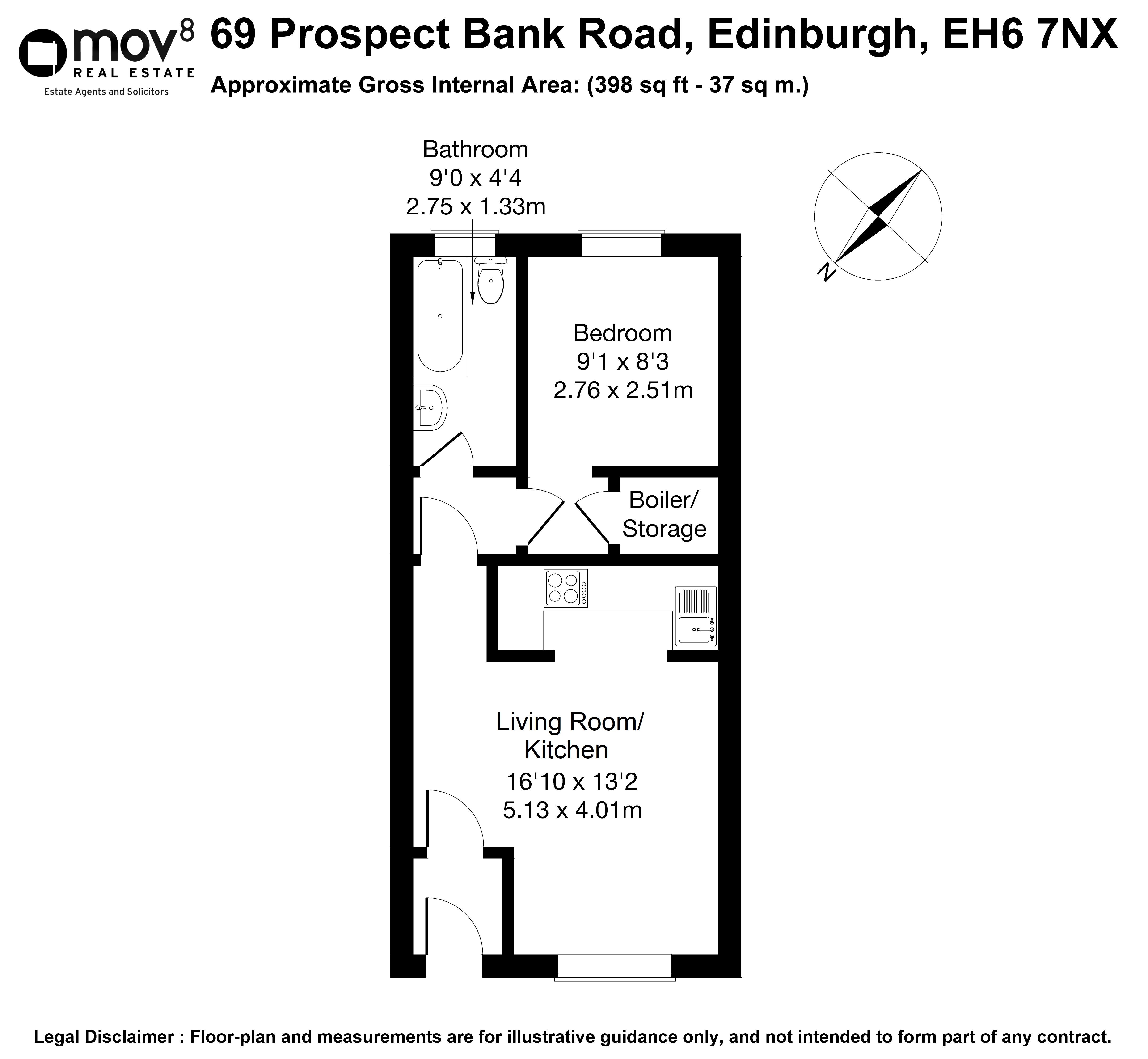 Floorplan 1 of 69 Prospect Bank Road, Leith Links, Edinburgh, EH6 7NX