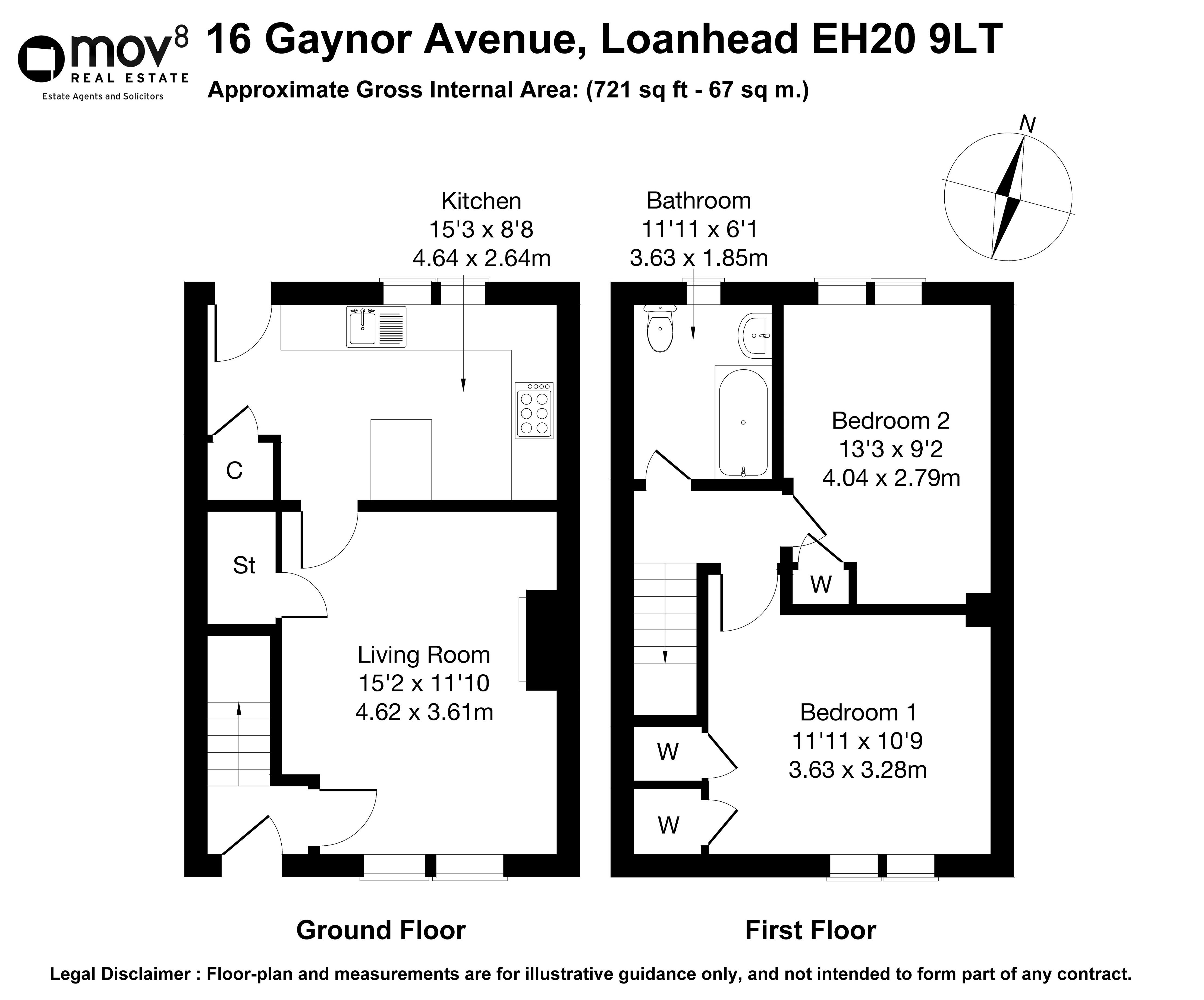 Floorplan 1 of 16 Gaynor Avenue, Loanhead, Midlothian, EH20 9LT