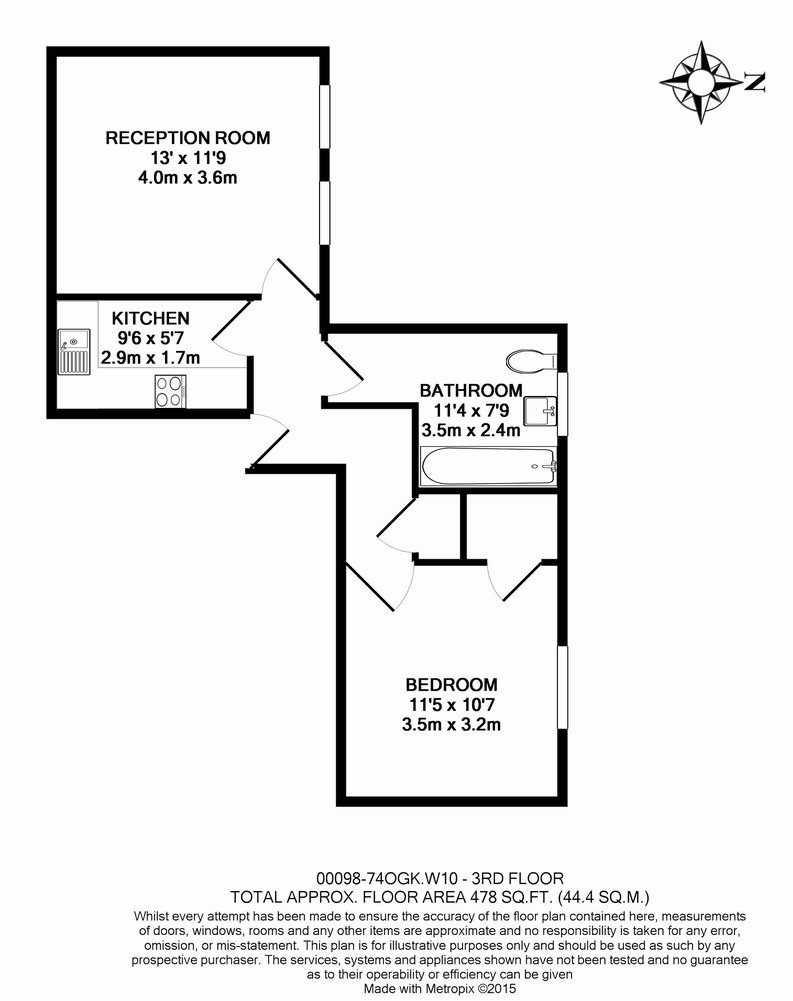 1 bedroom(s) apartment to sale in 74 Oxford Gardens, Ladbroke Grove-Floorplan