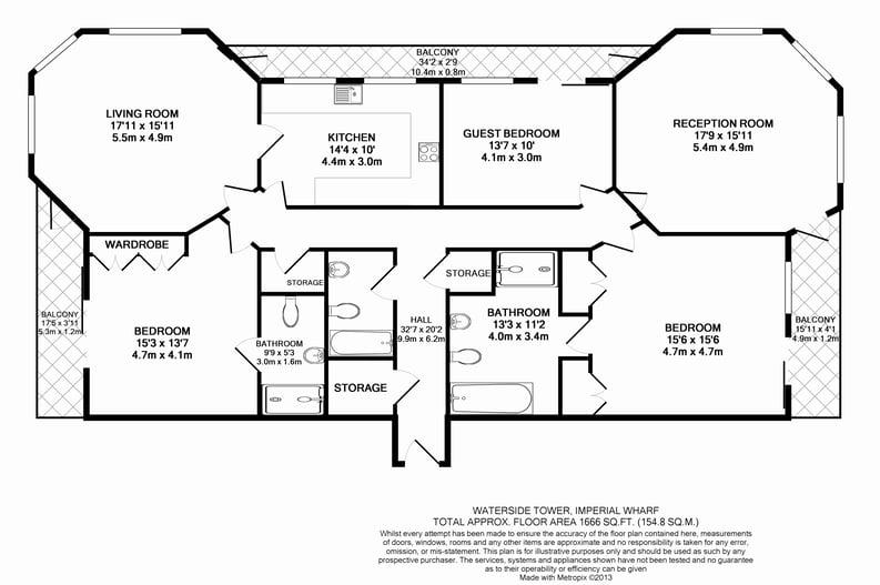 3 bedroom(s) apartment to sale in Waterside Tower, The Boulevard, Imperial Wharf, London-Floorplan