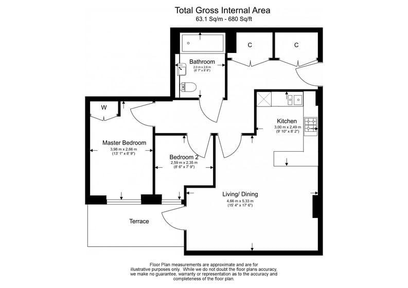 2 bedroom(s) apartment to sale in Dashwood House, Dickens Yard,, Ealing-Floorplan