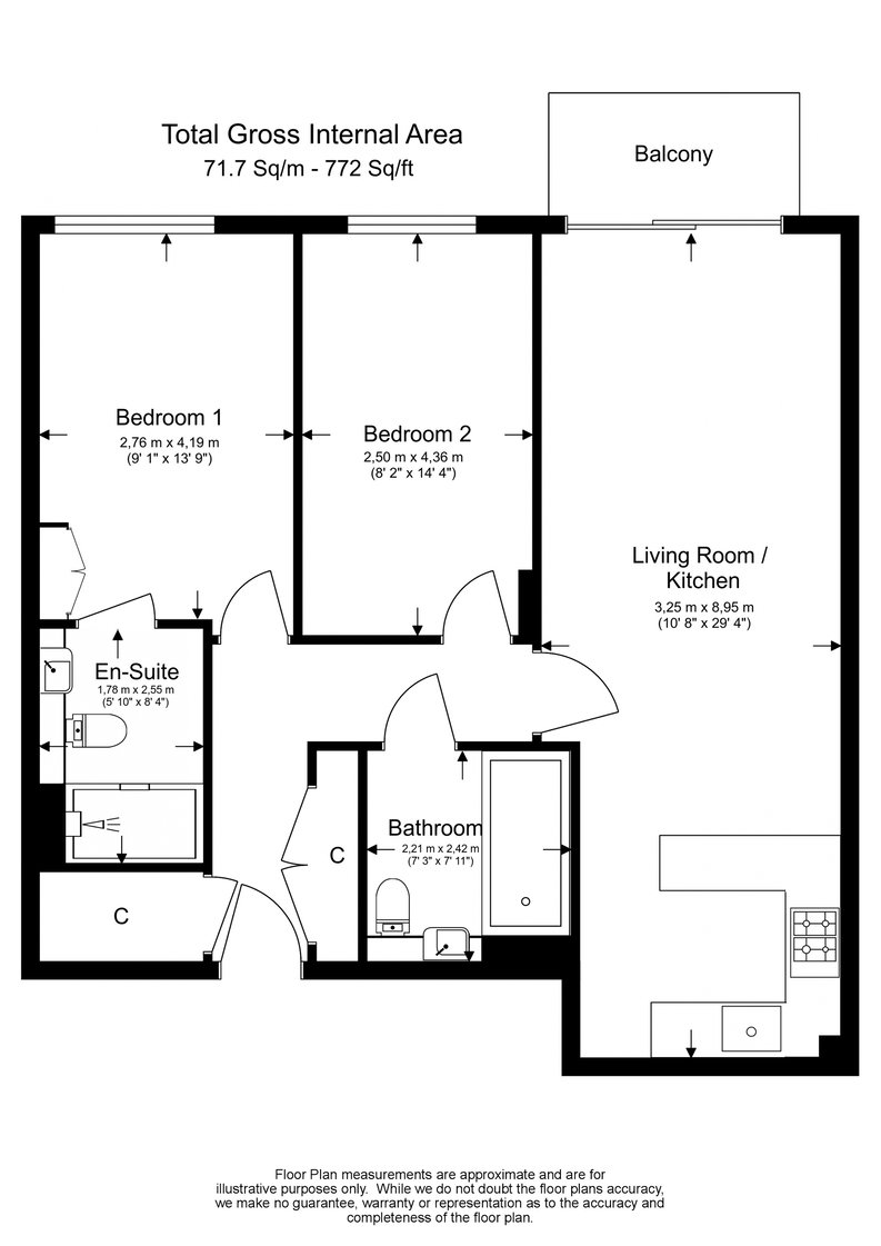 2 bedroom(s) apartment to sale in Constantine House, Boulevard Drive, Beaufort Park, Colindale-Floorplan