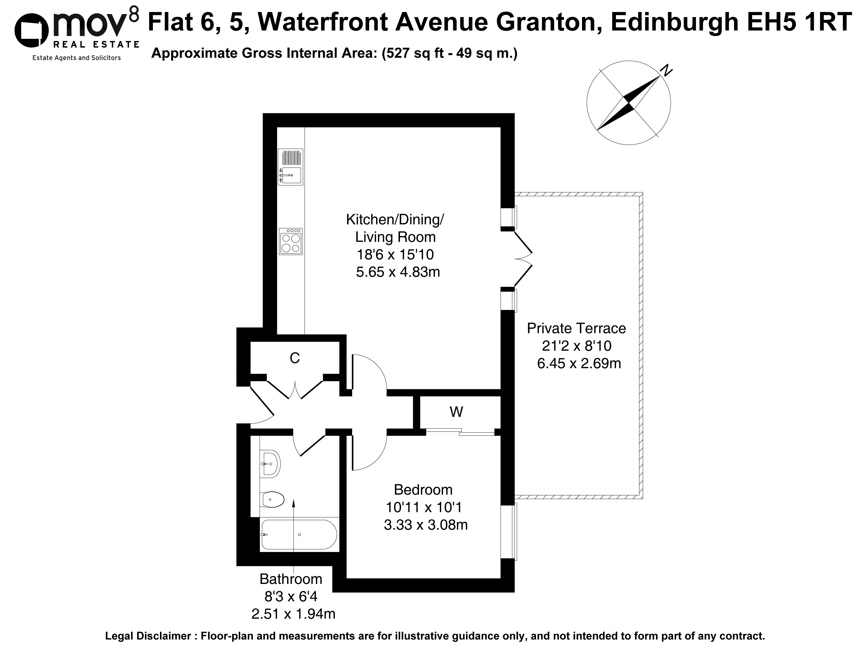 Floorplan 1 of Flat 6, 5 Waterfront Avenue, Granton, Edinburgh, EH5 1RT