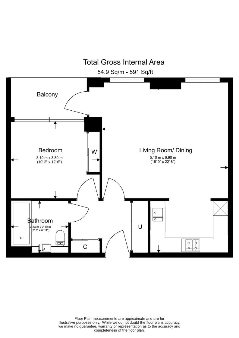 1 bedroom(s) to sale in The Hartingtons, Woodberry Down, Finsbury Park-Floorplan