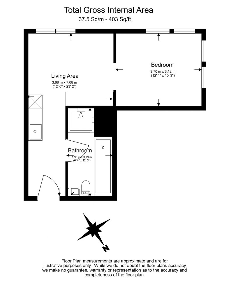 1 bedroom(s) apartment to sale in County Hall, 1 Addison Street, Waterloo-Floorplan