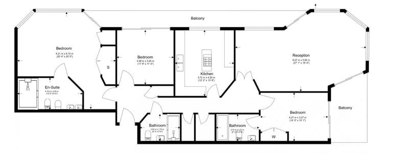 3 bedroom(s) apartment to sale in Riverside Tower , Imperial Wharf , London-Floorplan
