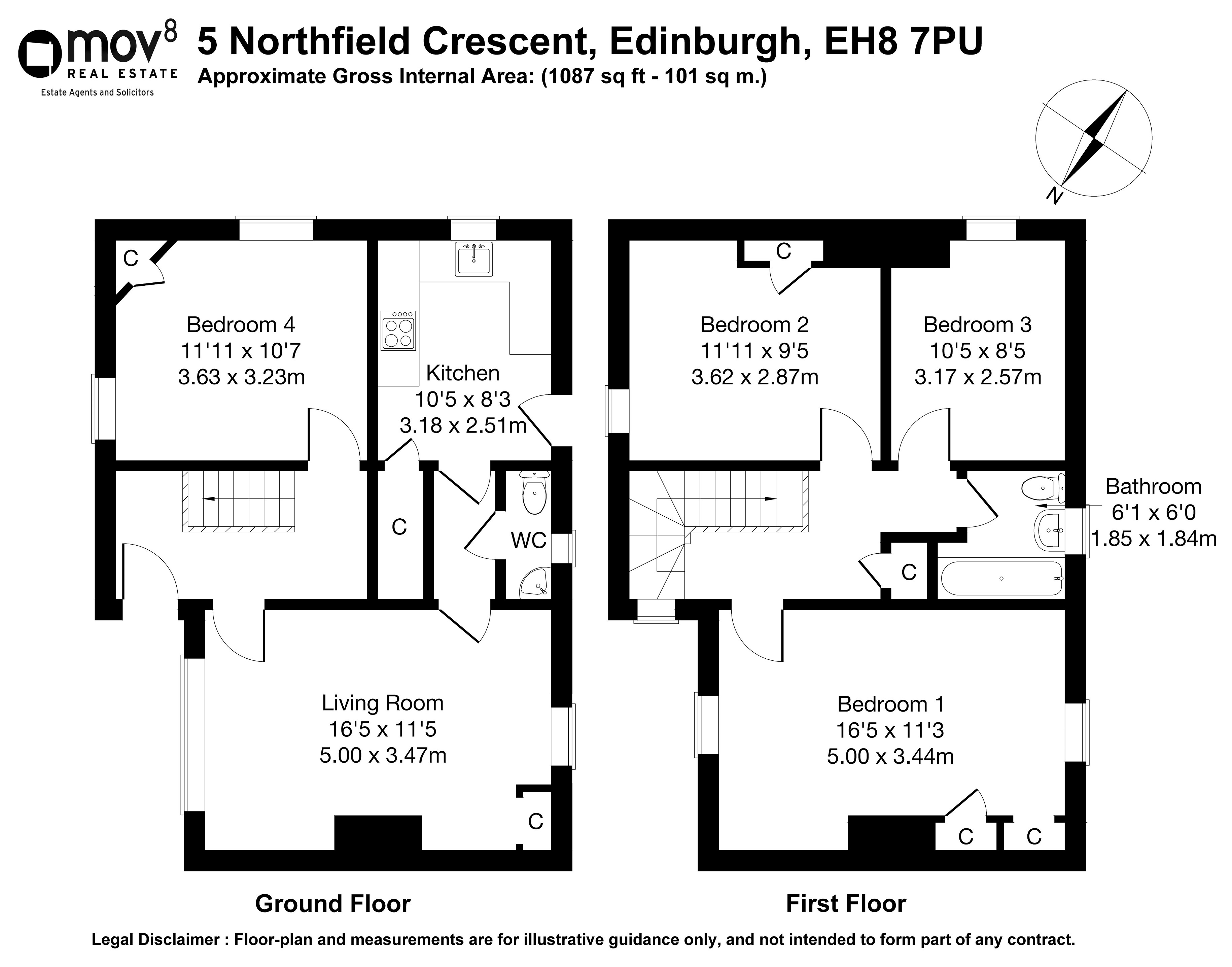 Floorplan 1 of 5 Northfield Crescent, Northfield, Edinburgh, EH8 7PU