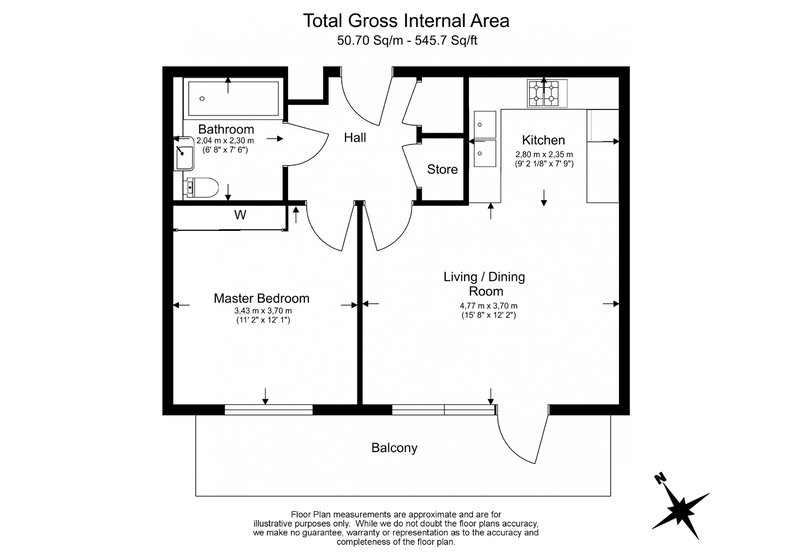 1 bedroom(s) apartment to sale in Bond Mansions , Portobello Square, Notting Hill-Floorplan