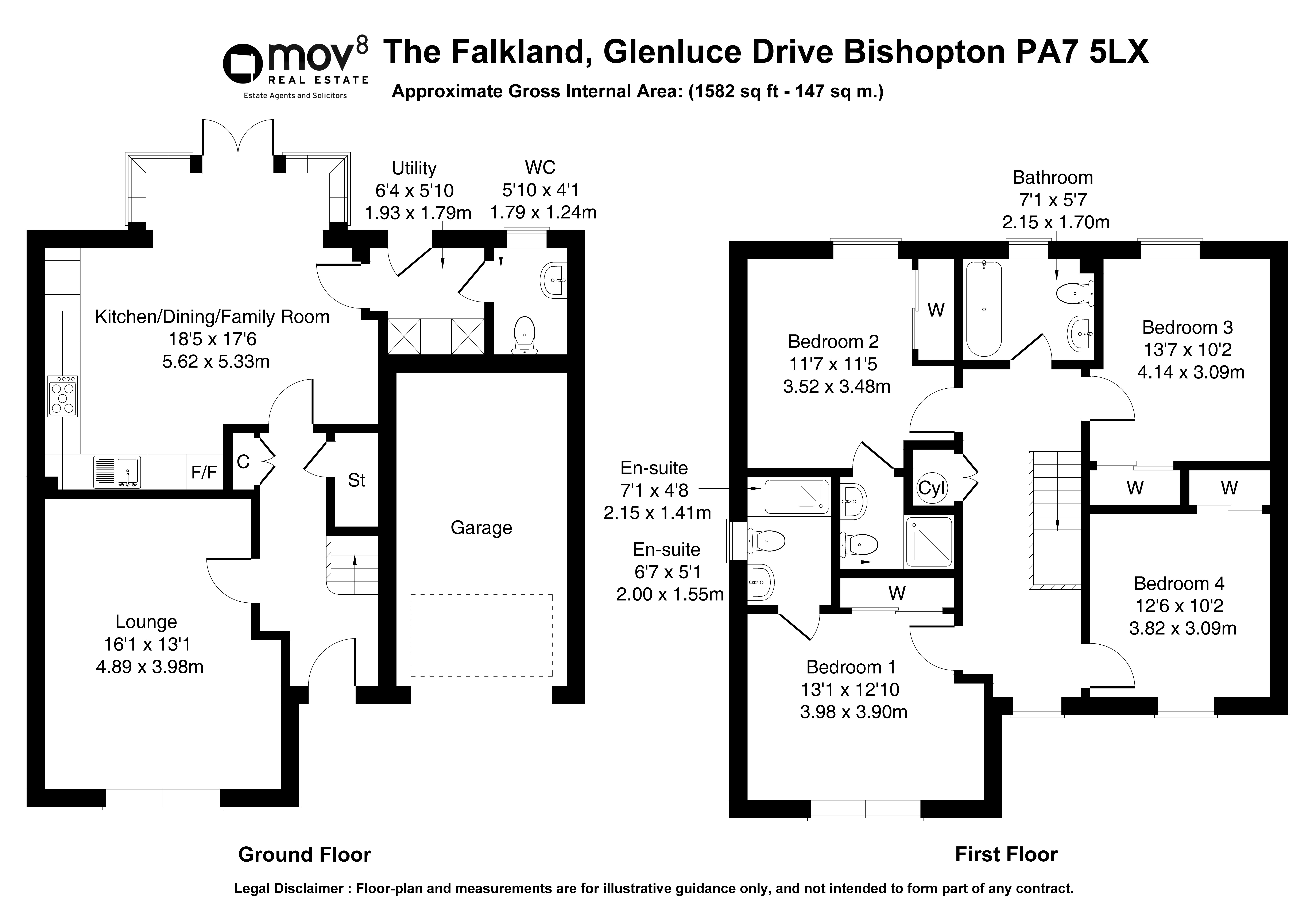 Floorplan 1 of David Wilson Homes The Falkland, Glenluce Drive, Bishopton, Renfrewshire, PA7 5FW