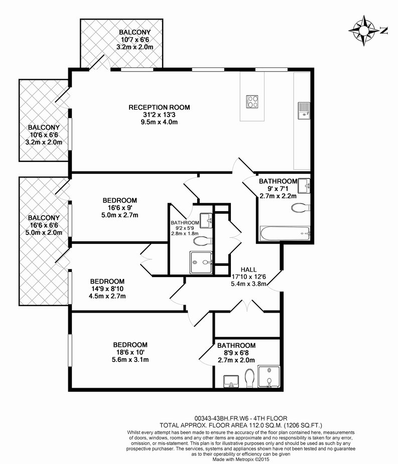 3 bedroom(s) apartment to sale in Brunswick House, Parr's Way, Fulham Reach, London-Floorplan