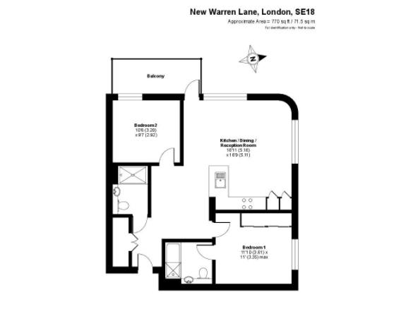 2 bedroom(s) apartment to sale in Tyger House, New Warren Lane, Woolwich, London-Floorplan