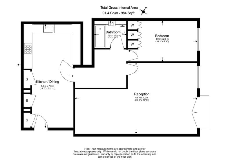 1 bedroom(s) apartment to sale in Wexner Building, 2 Strype Street, Spitalfields-Floorplan
