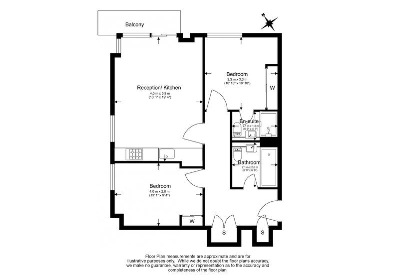 2 bedroom(s) apartment to sale in Waterside Apartments, Woodberry Down, Manor House-Floorplan