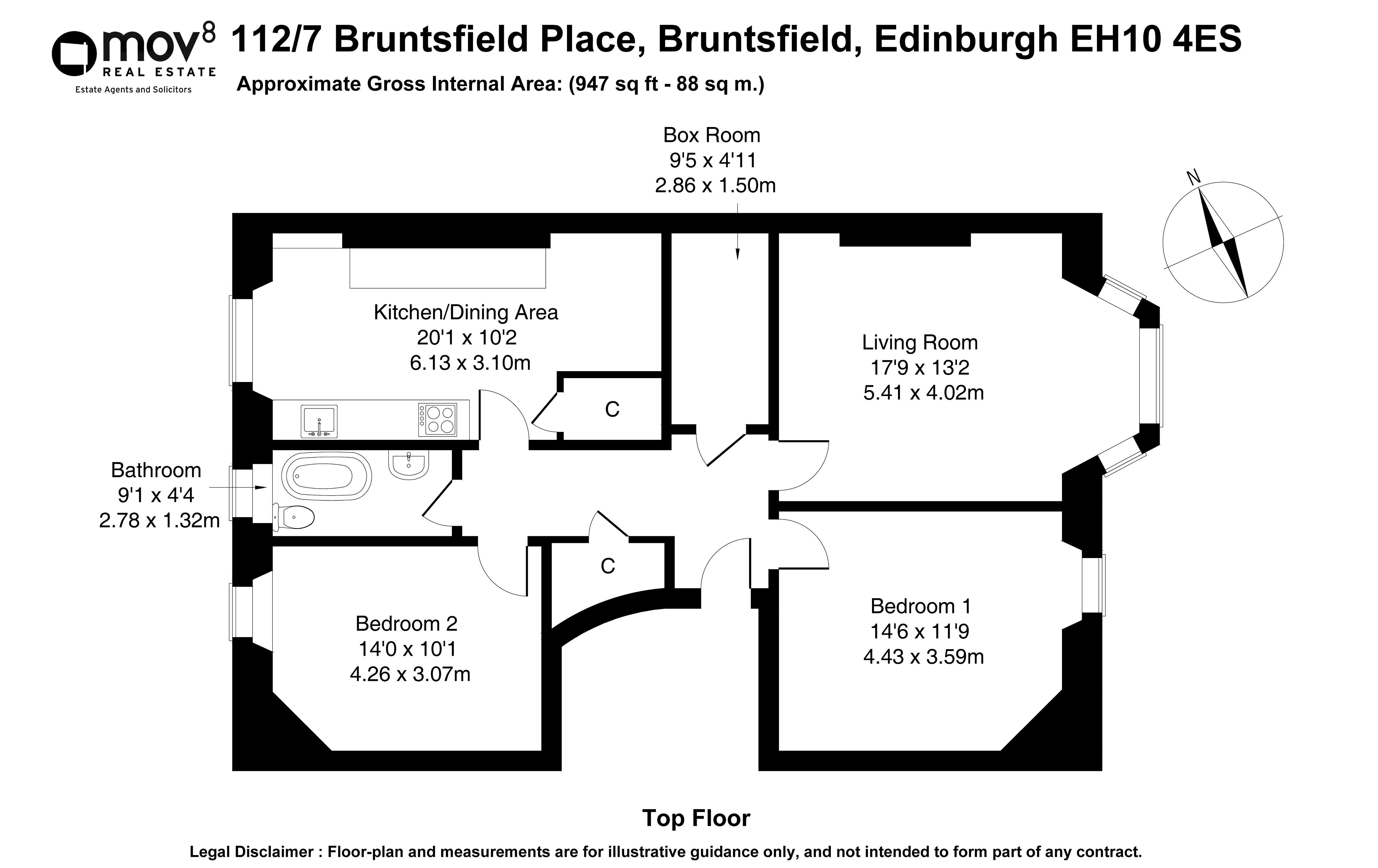 Floorplan 1 of 112/7, Bruntsfield Place, Bruntsfield, Edinburgh, EH10 4ES