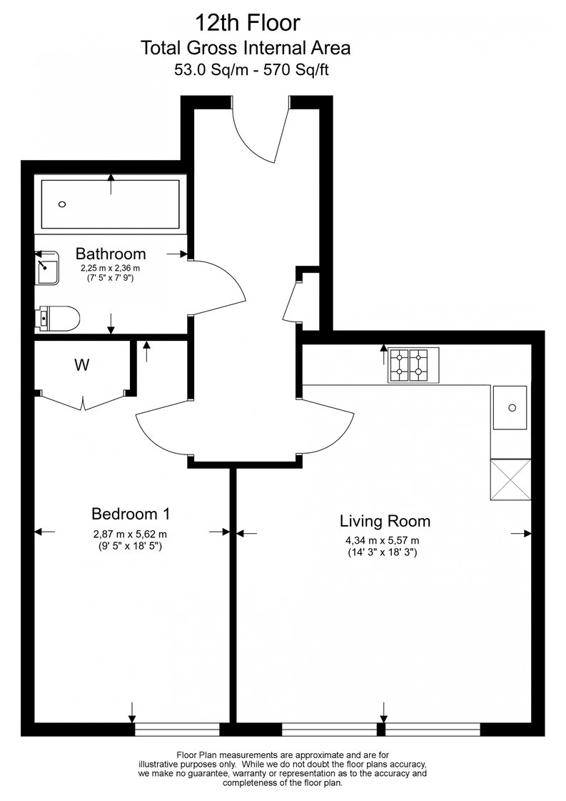 1 bedroom(s) apartment to sale in Landmark West Tower, 22 Marsh Wall, London-Floorplan