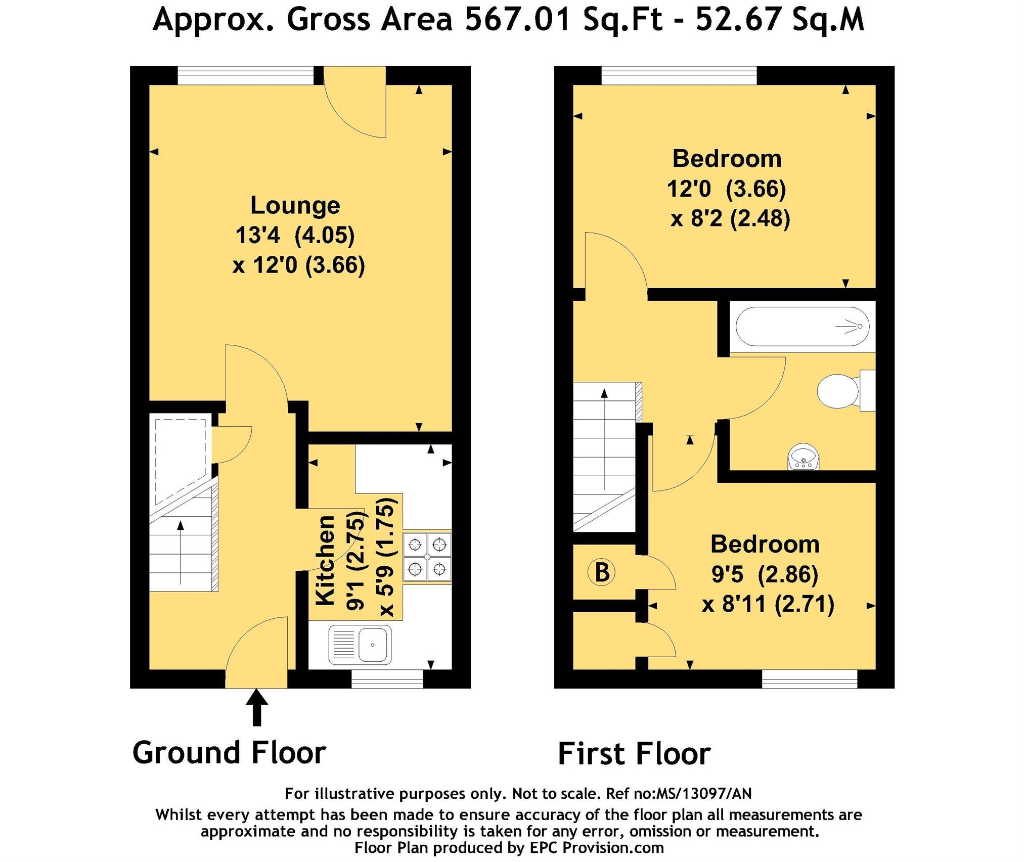 Floorplan for Sutherland Avenue, Yate.