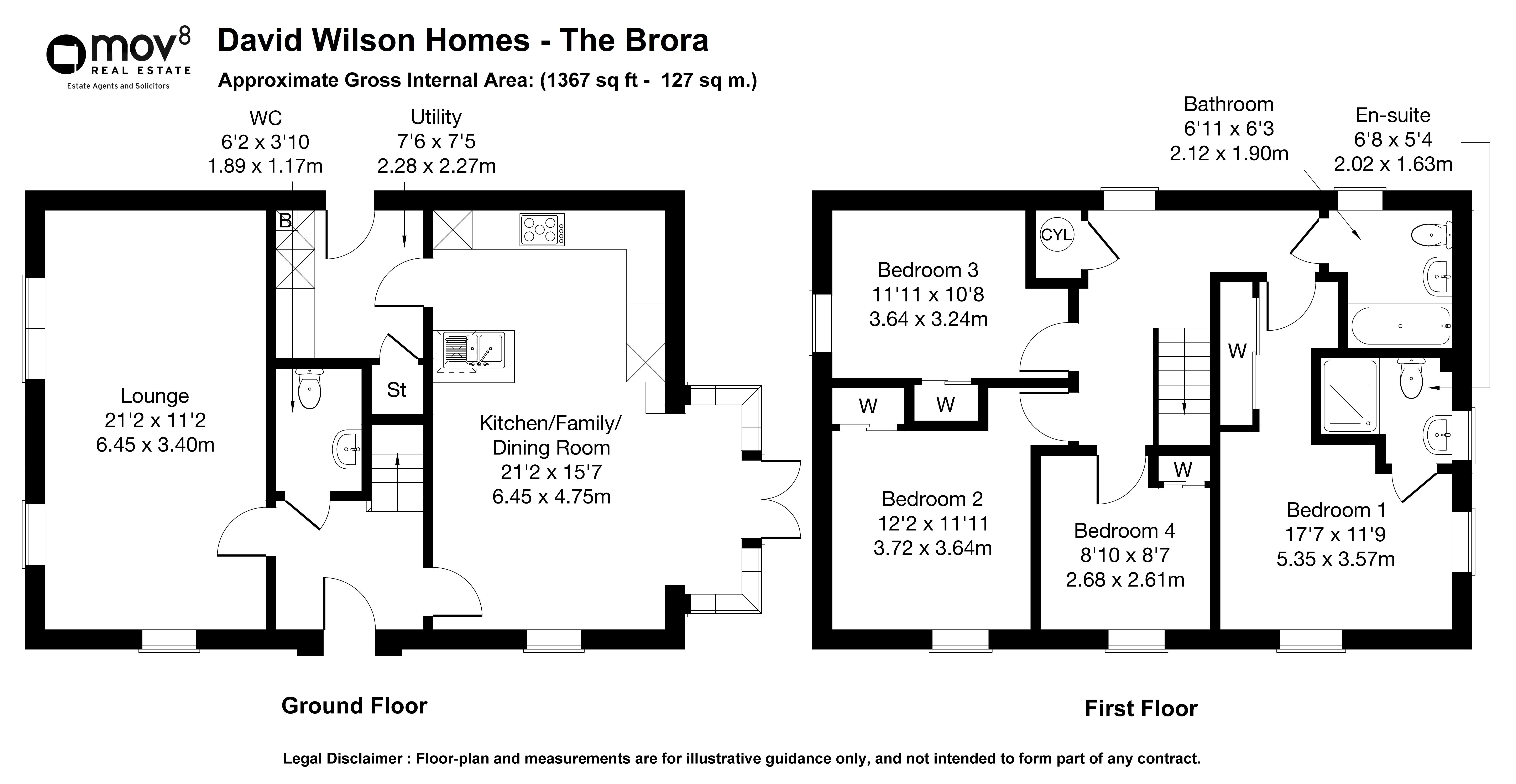Floorplan 1 of David Wilson Homes The Brora, Glenluce Drive, Bishopton, Renfrewshire, PA7 5FW