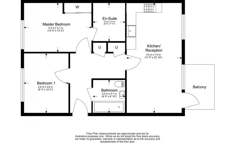 2 bedroom(s) apartment to sale in Bodiam Court, Park Royal-Floorplan