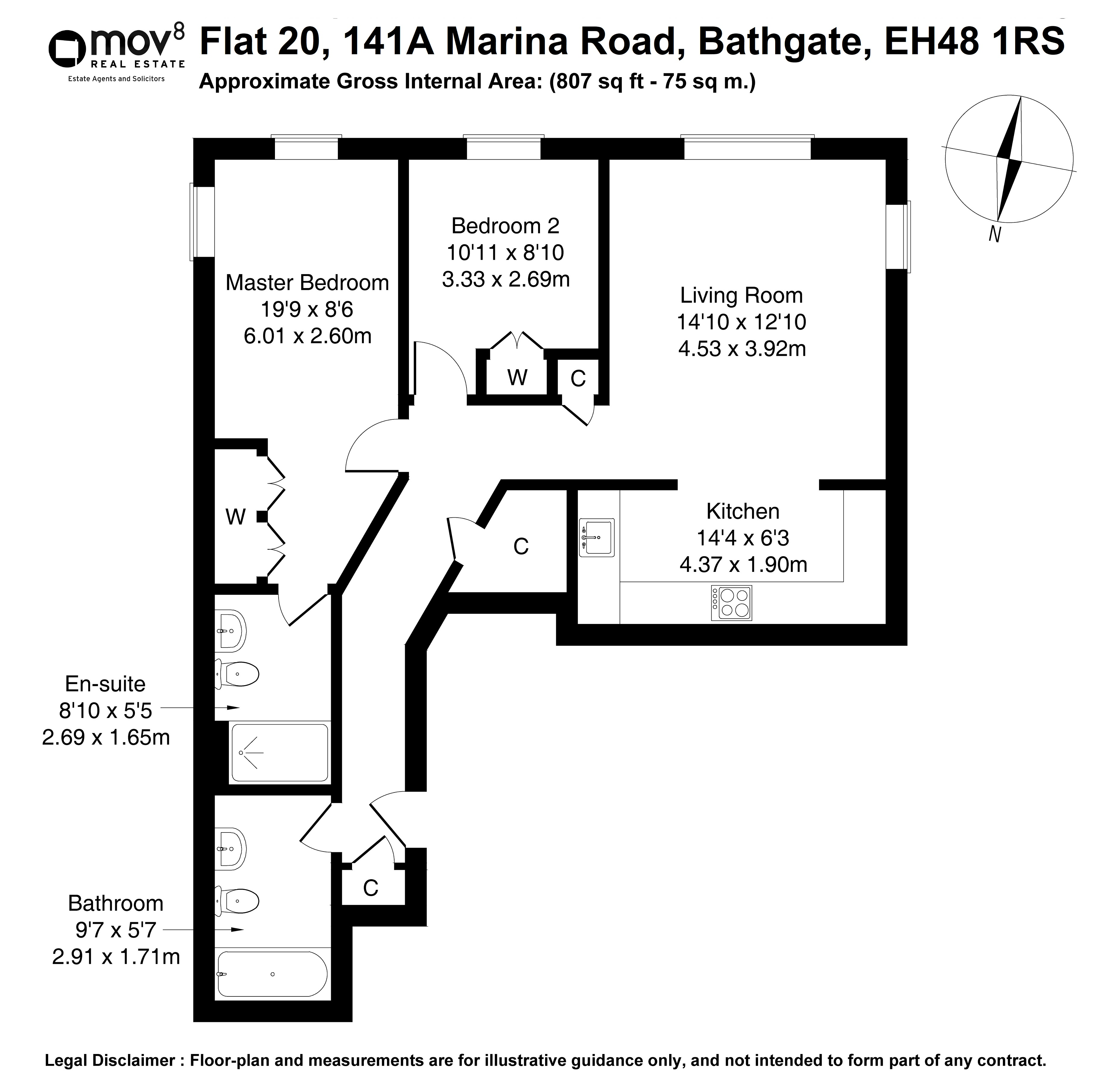 Floorplan 1 of Flat 20, 141a Marina Road, Bathgate, West Lothian, EH48 1RS