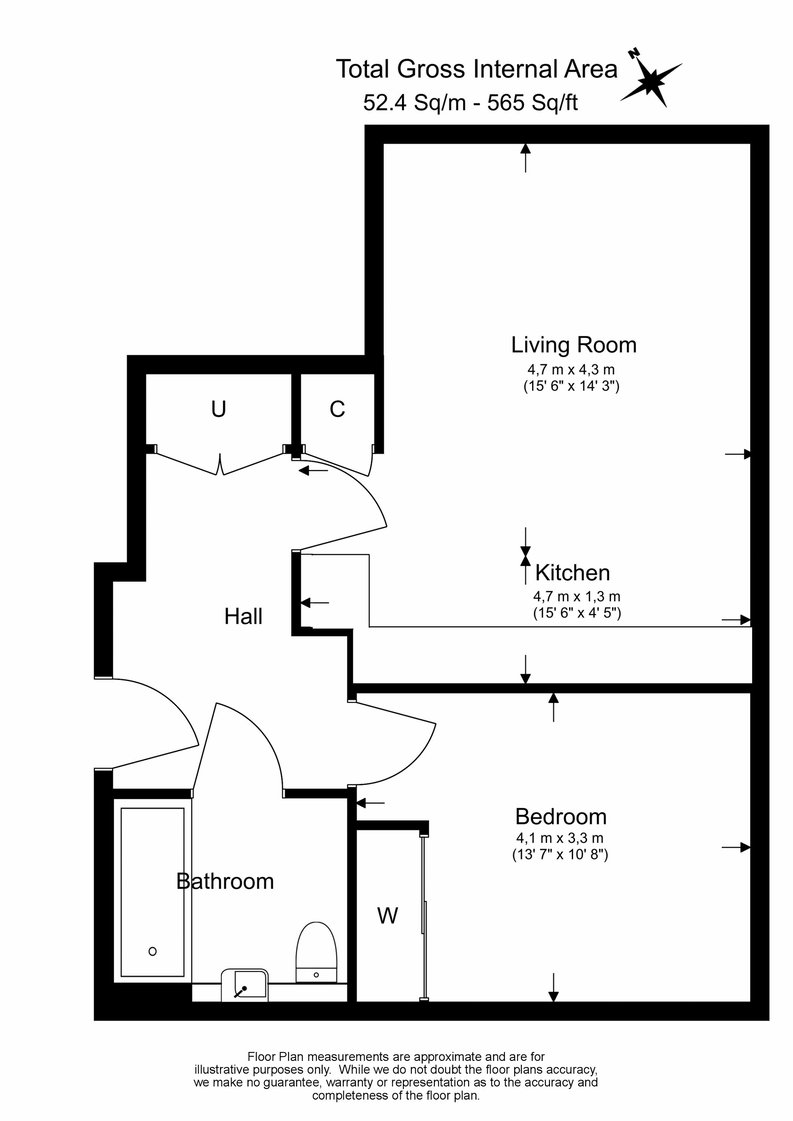 1 bedroom(s) apartment to sale in The Green Quarter, Sibley House, Southall Waterside, London-Floorplan