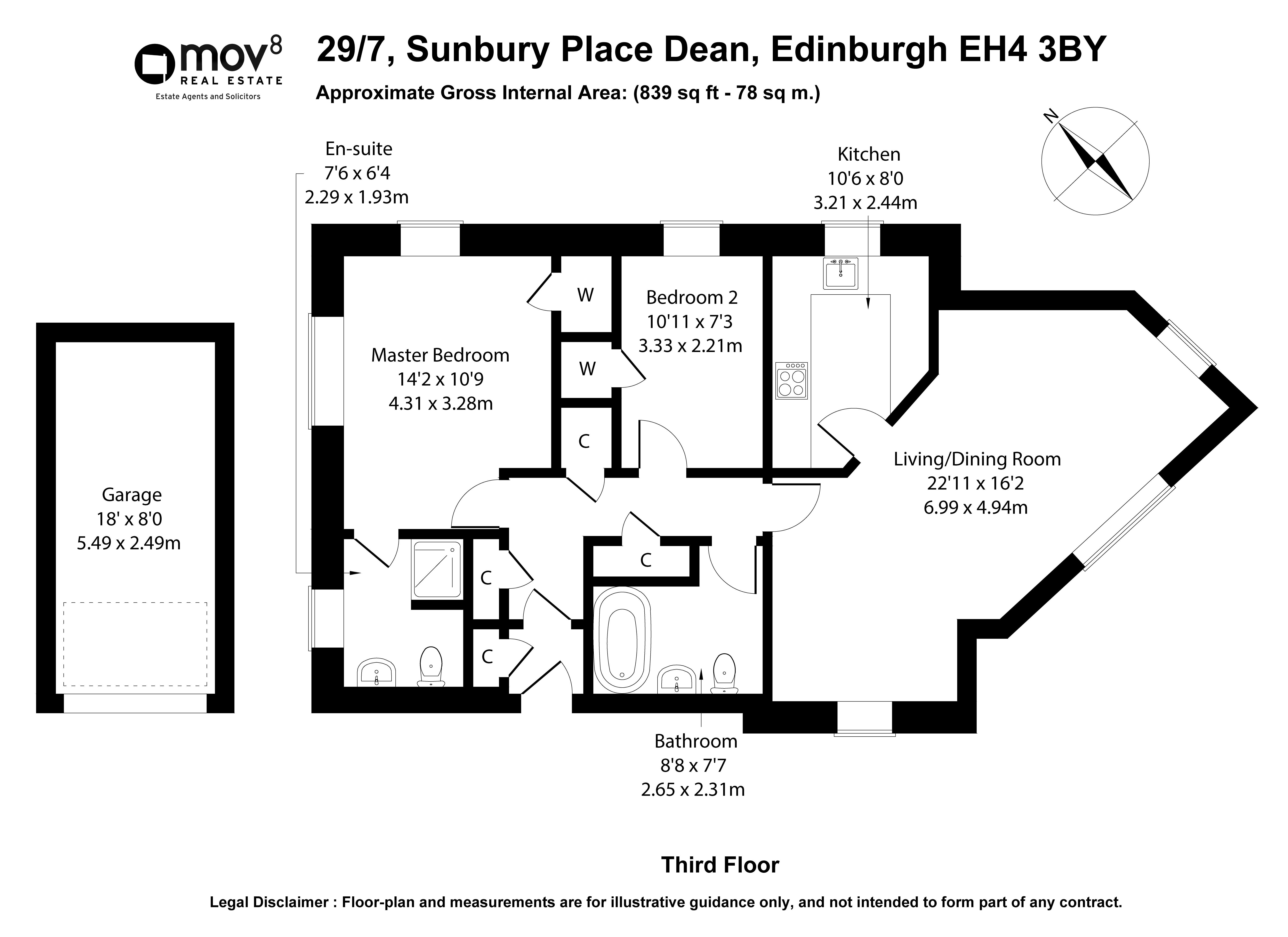 Floorplan 1 of 29/7, Sunbury Place, Dean, Edinburgh, EH4 3BY