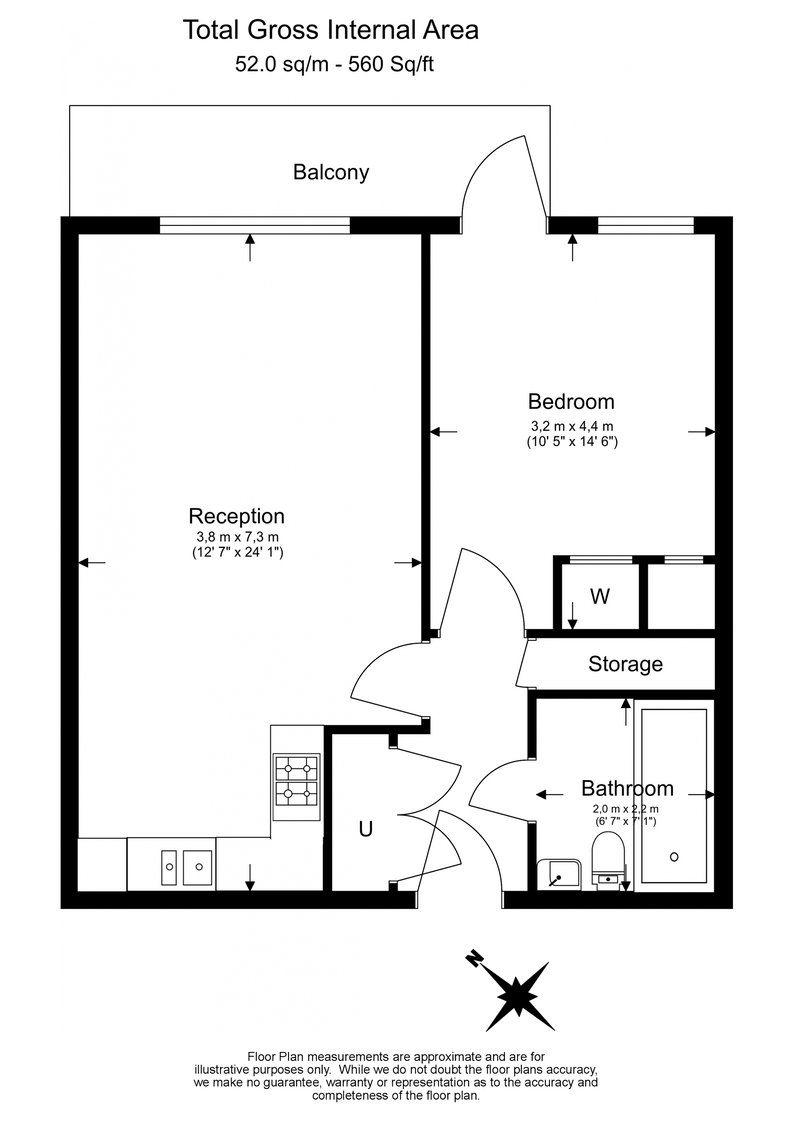 1 bedroom(s) apartment to sale in Westbourne Apartments, Central Avenue, Fulham-Floorplan