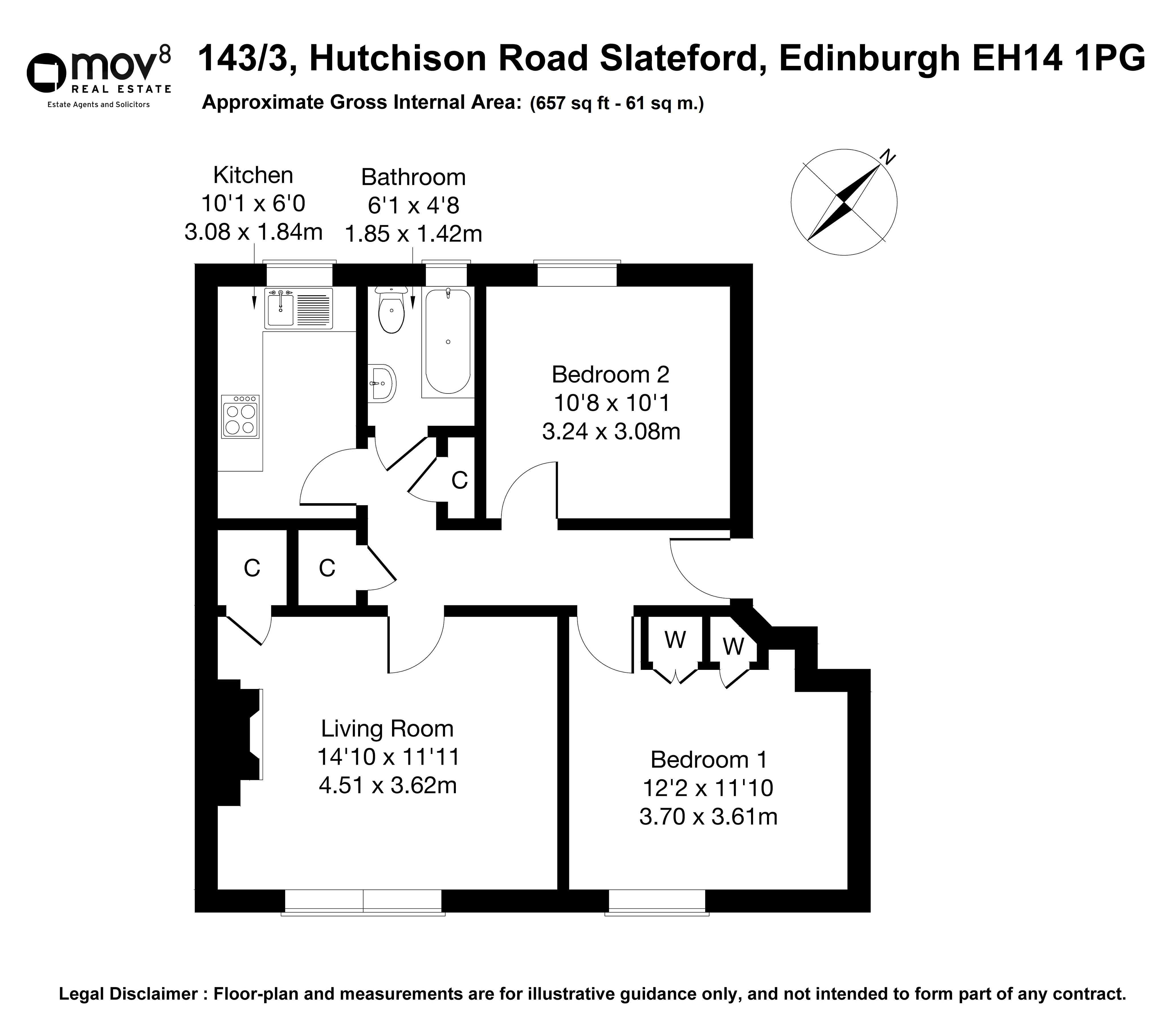 Floorplan 1 of 143/3, Hutchison Road, Slateford, Edinburgh, EH14 1PG