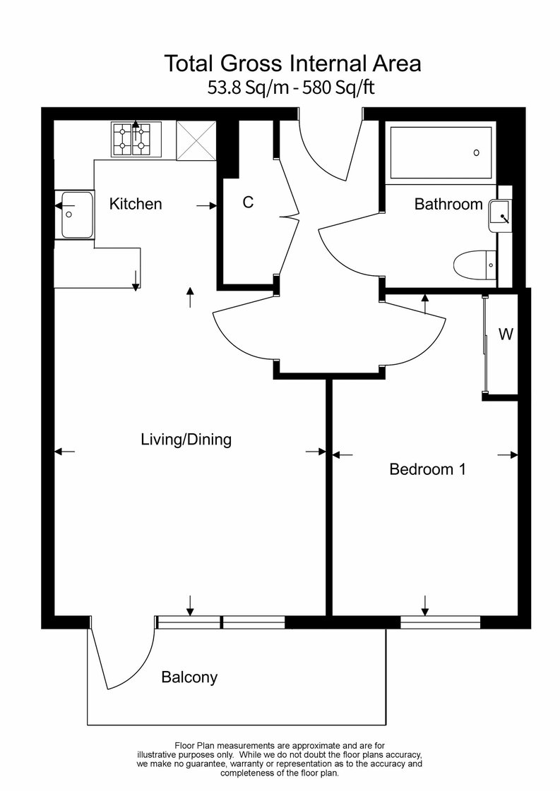 1 bedroom(s) apartment to sale in Marquis House, Sovereign Court, Hammersmith-Floorplan