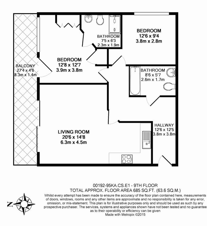 2 bedroom(s) apartment to sale in Craig Tower, Aqua Vista Square, Bow-Floorplan