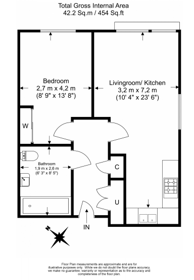 1 bedroom(s) apartment to sale in Baroque Gardens, Mary Rose Square, Surrey Quays-Floorplan