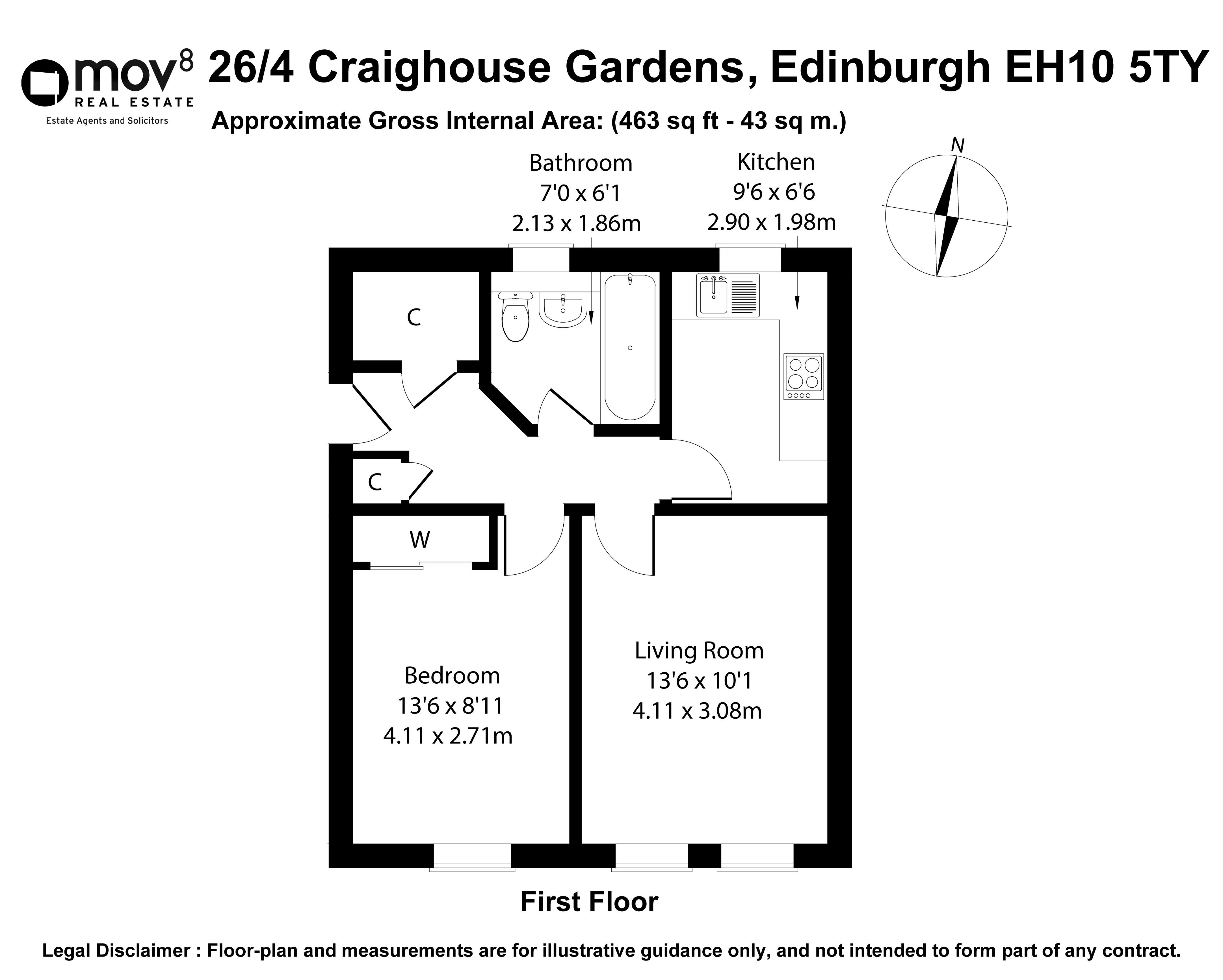 Floorplan 1 of 26/4, Craighouse Gardens, Morningside, Edinburgh, EH10 5TY