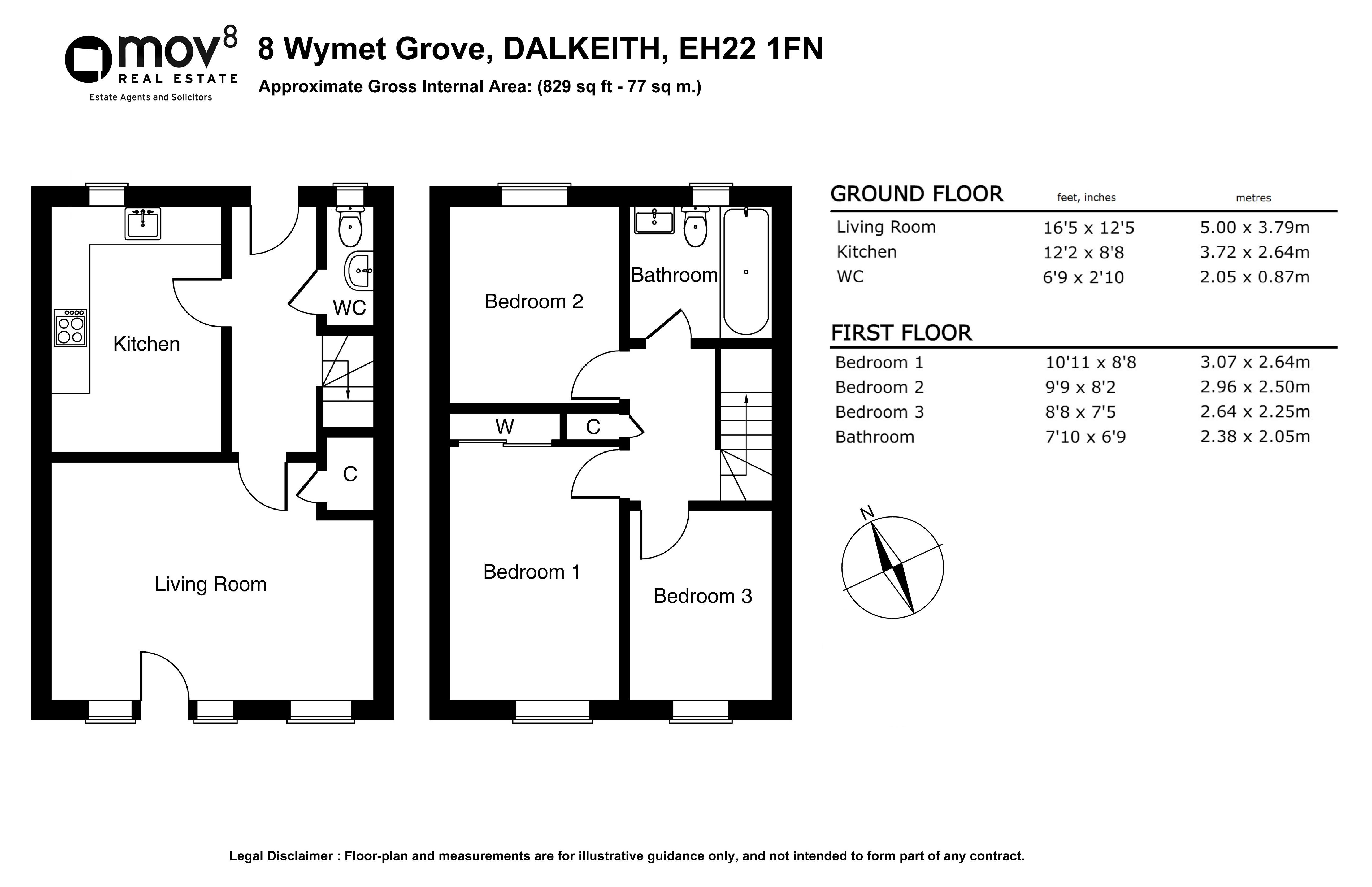 Floorplan 1 of 8 Wymet Grove, Millerhill, Dalkeith, Midlothian, EH22 1FN