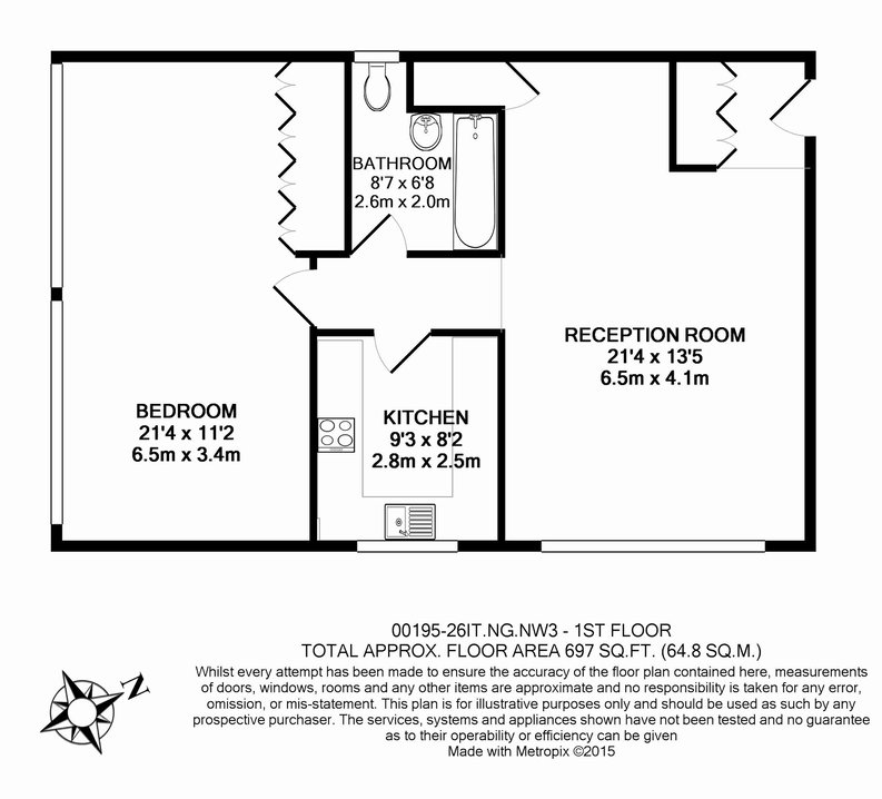 1 bedroom(s) apartment to sale in Imperial Towers, Netherhall Gardens, London-Floorplan