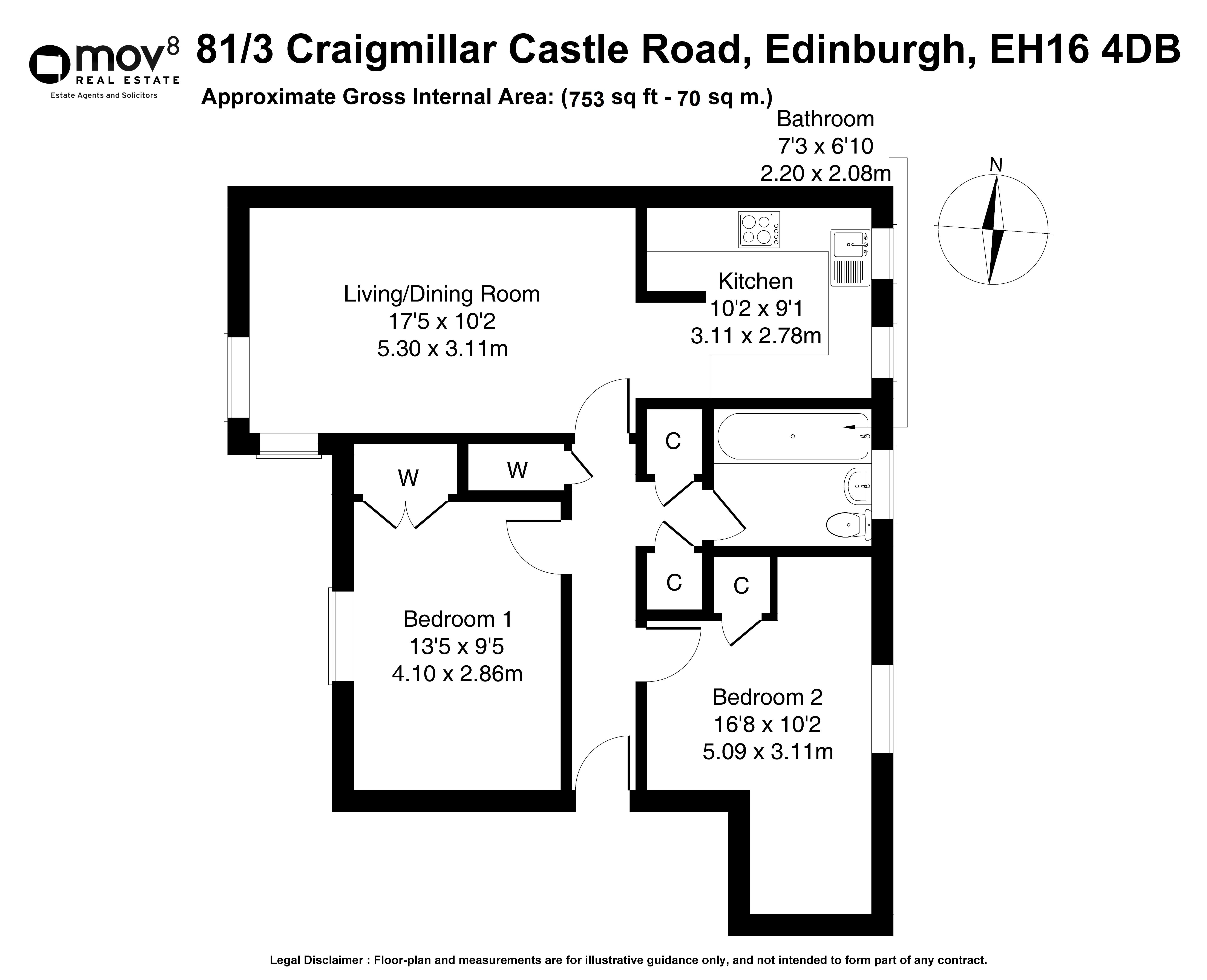 Floorplan 1 of 81/3, Craigmillar Castle Road, Craigmillar, Edinburgh, EH16 4DB